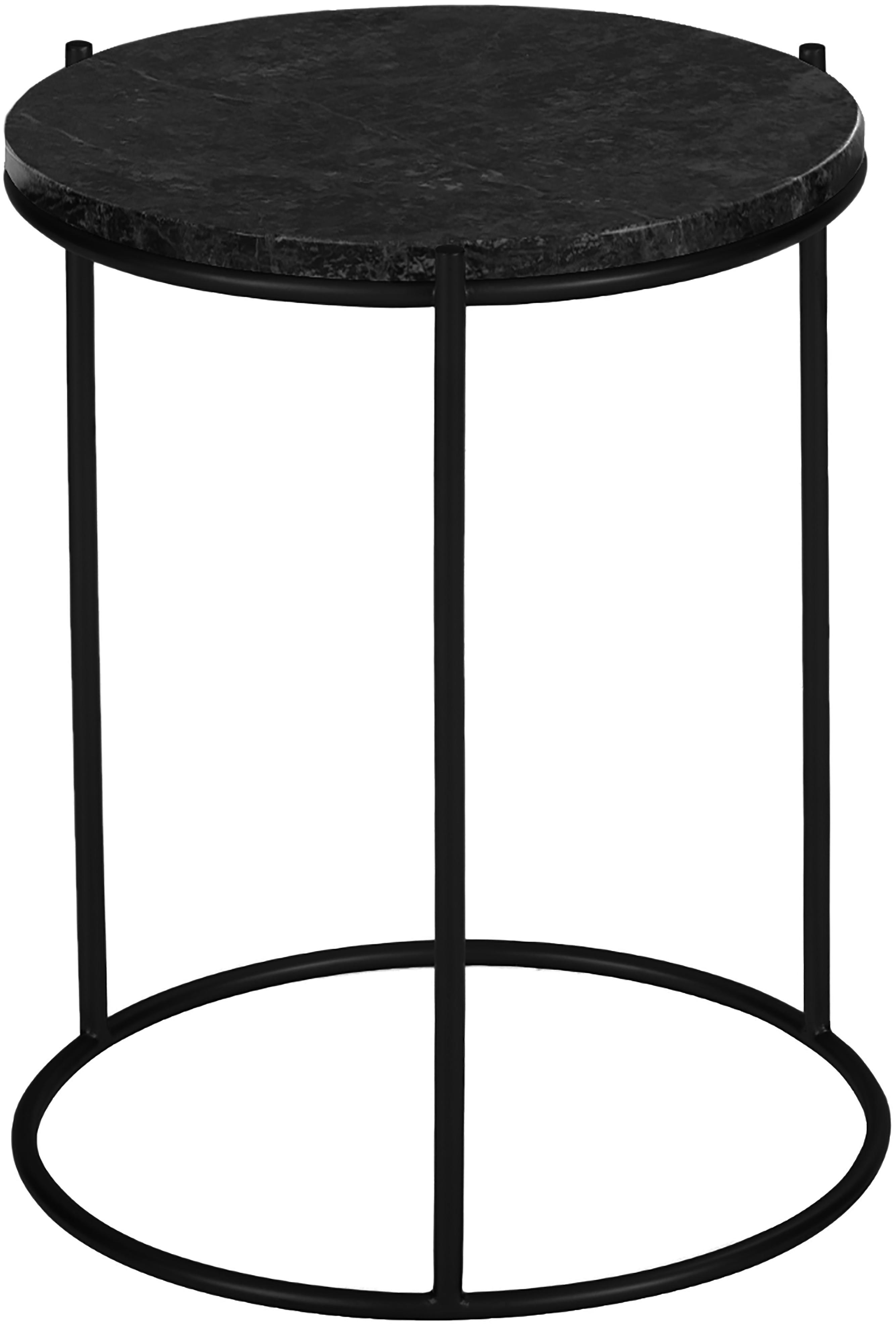 Mesa auxiliar redonda de mármol Ella, Tablero: mármol natural, Estructura: metal con pintura en polv, Negro veteado, negro, Ø 40 x Al 50 cm
