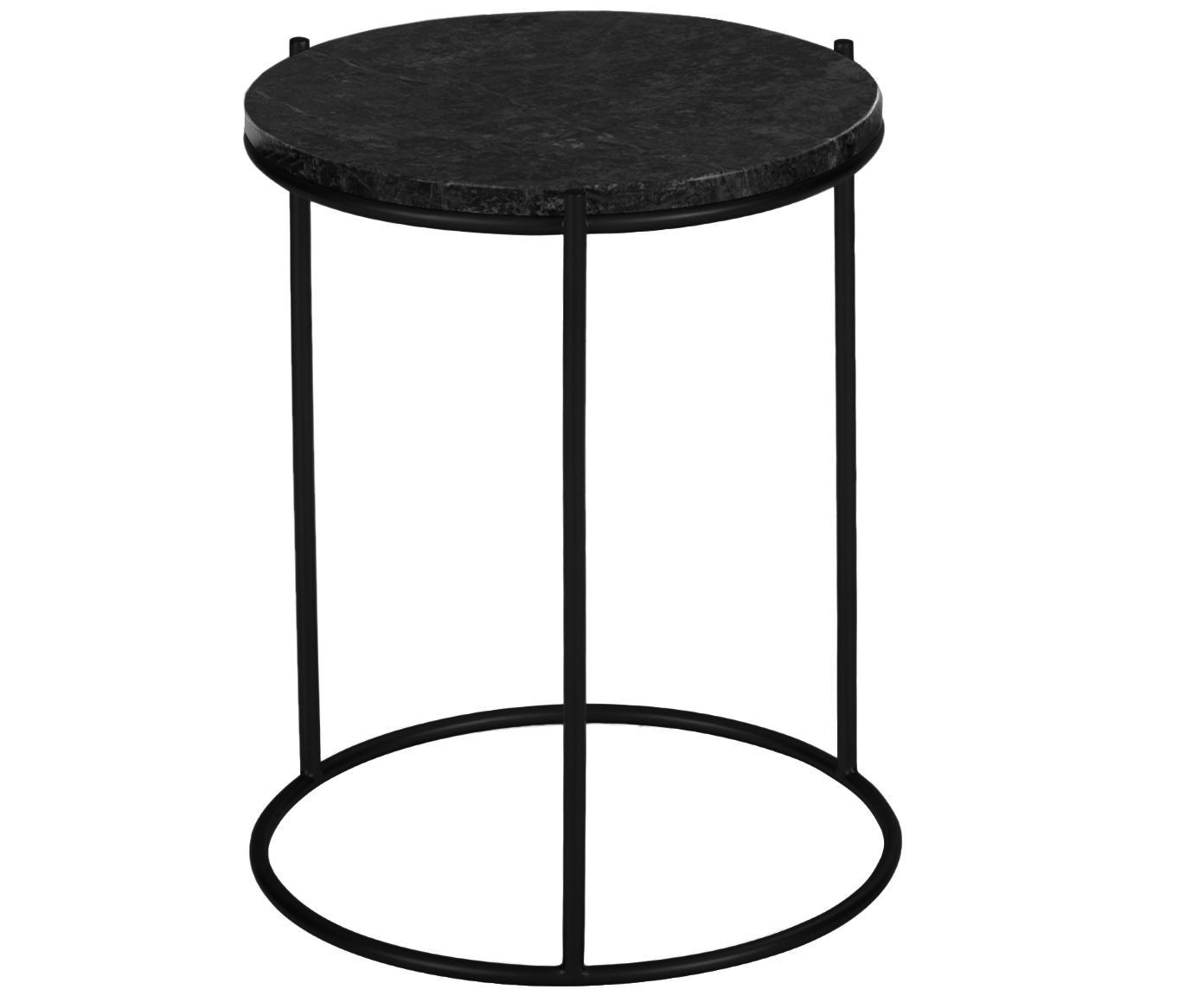 Tavolino rotondo con piano in marmo Ella, Struttura: metallo verniciato a polv, Piano d'appoggio: marmo nero Struttura: nero, opaco, Ø 40 x Alt. 50 cm