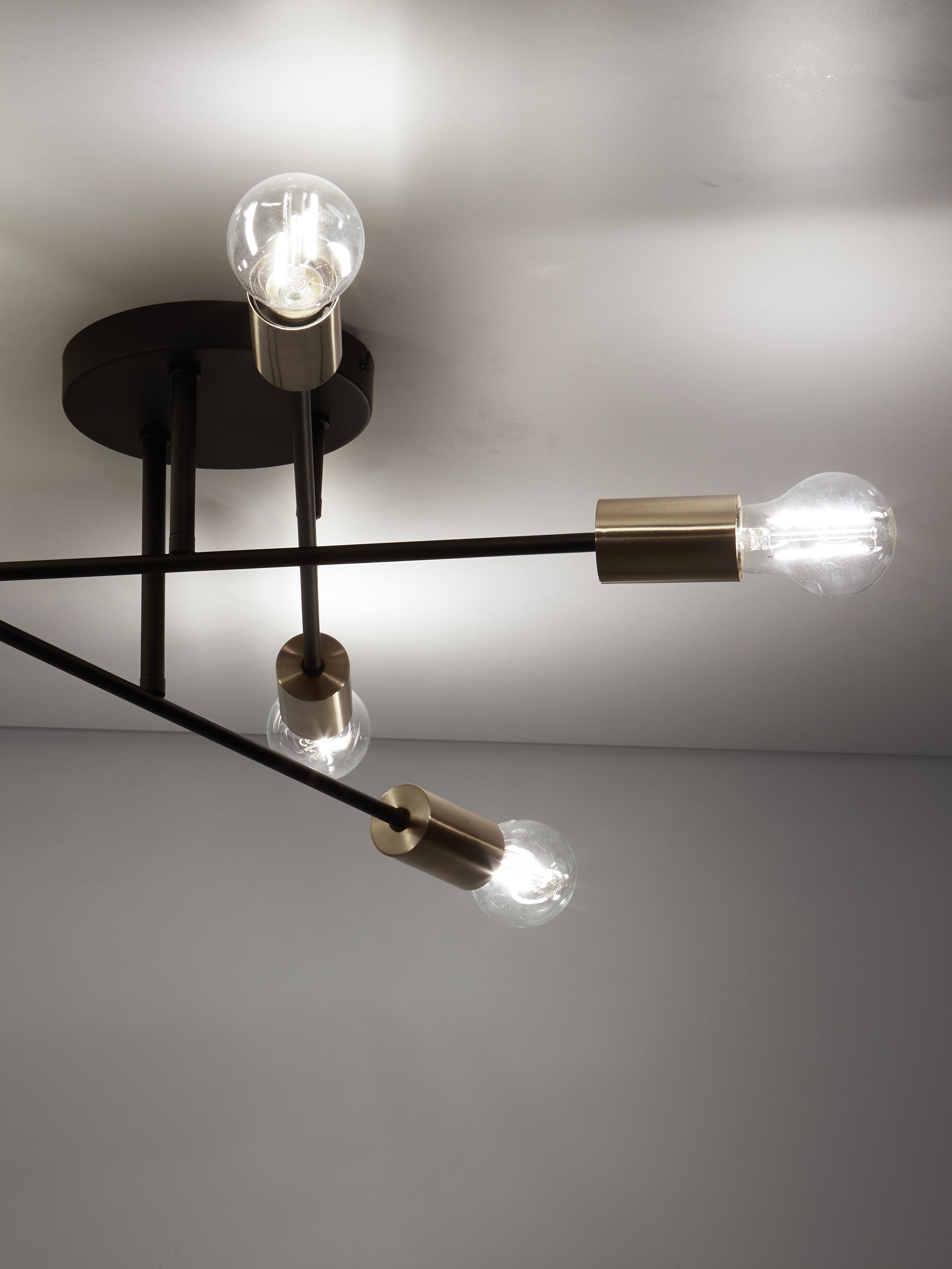 Lampada da soffitto Visby, Baldacchino: metallo verniciato a polv, Paralume: vetro, Nero, Ø 55 x Alt. 20 cm