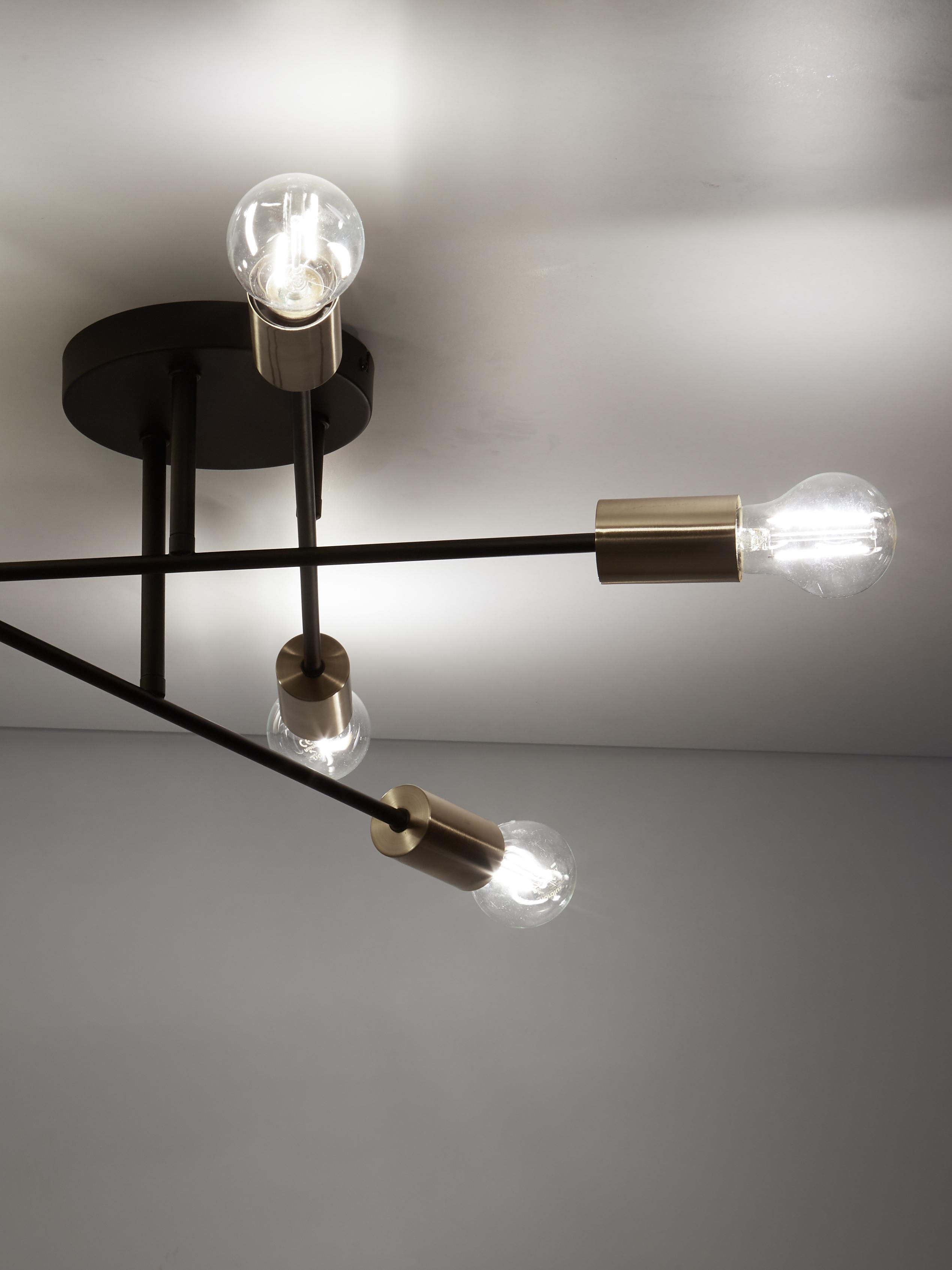 Lámpara de techo Visby, Anclaje: metal con pintura en polv, Estructura: metal, pintura en polvo, Negro, Ø 55 x Al 20 cm