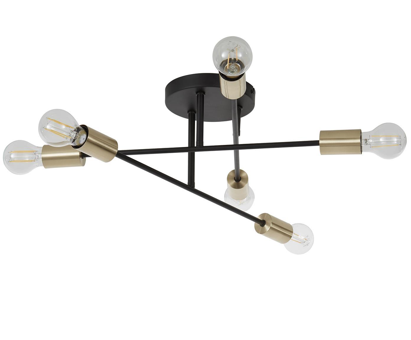 Plafondlamp Morris, Baldakijn: gepoedercoat metaal, Zwart, Ø 55 x H 20 cm