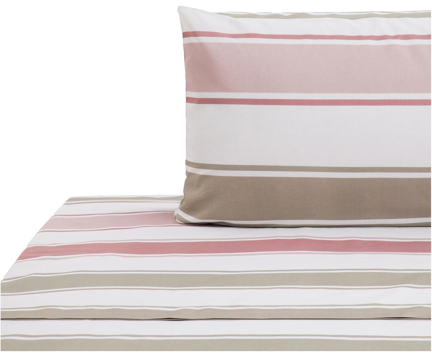 Set lenzuola in cotone Cappo 2 pz, Cotone, Rosso, rosa, verde oliva, marrone chiaro, bianco, 160 x 270 cm