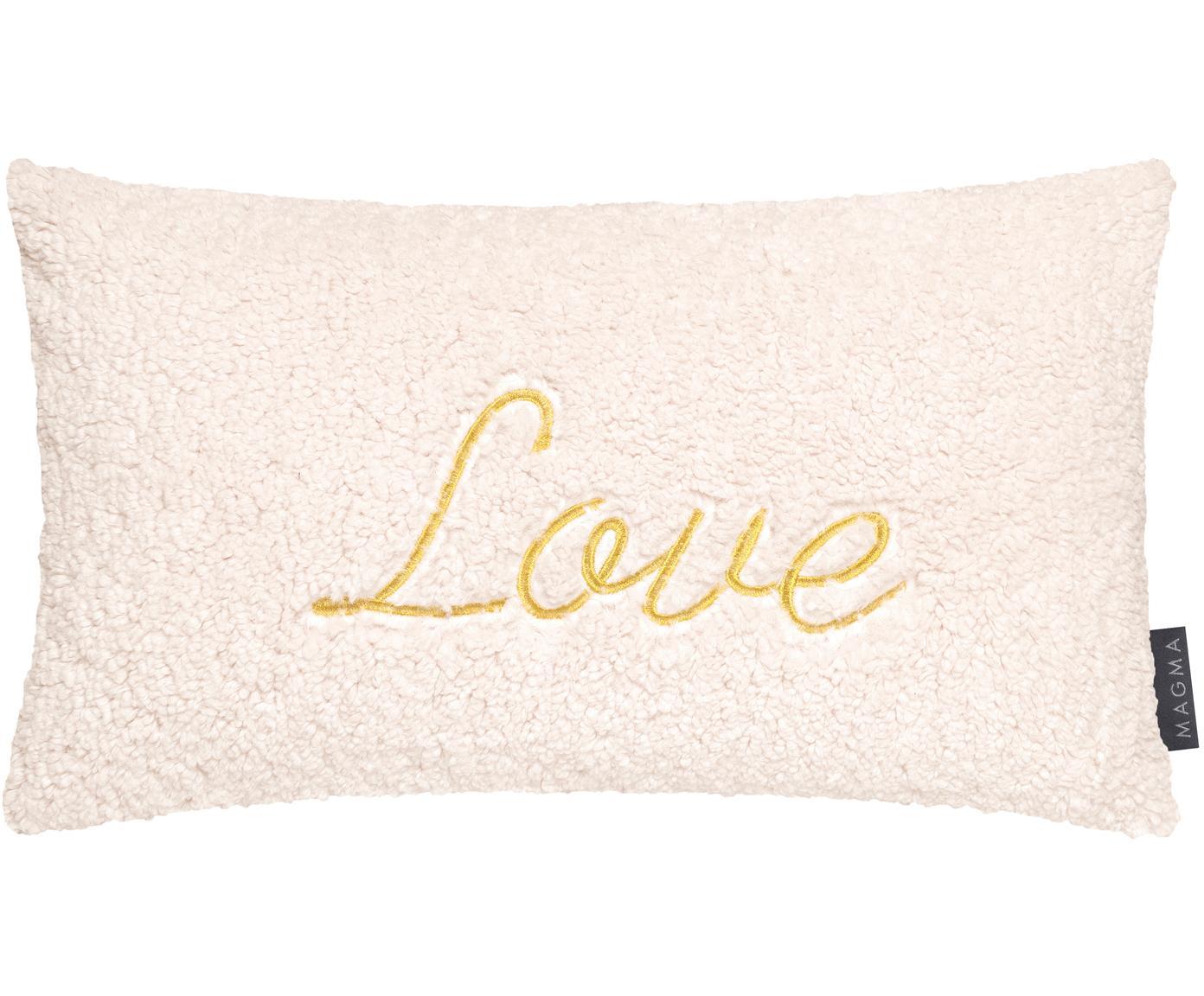 Flauschige Kissenhülle Bina mit goldener Aufschrift, Vorderseite: Polyester, plüschig, Rückseite: Polyester (Wildlederimita, Elfenbein, Goldfarben, Beige, 30 x 50 cm
