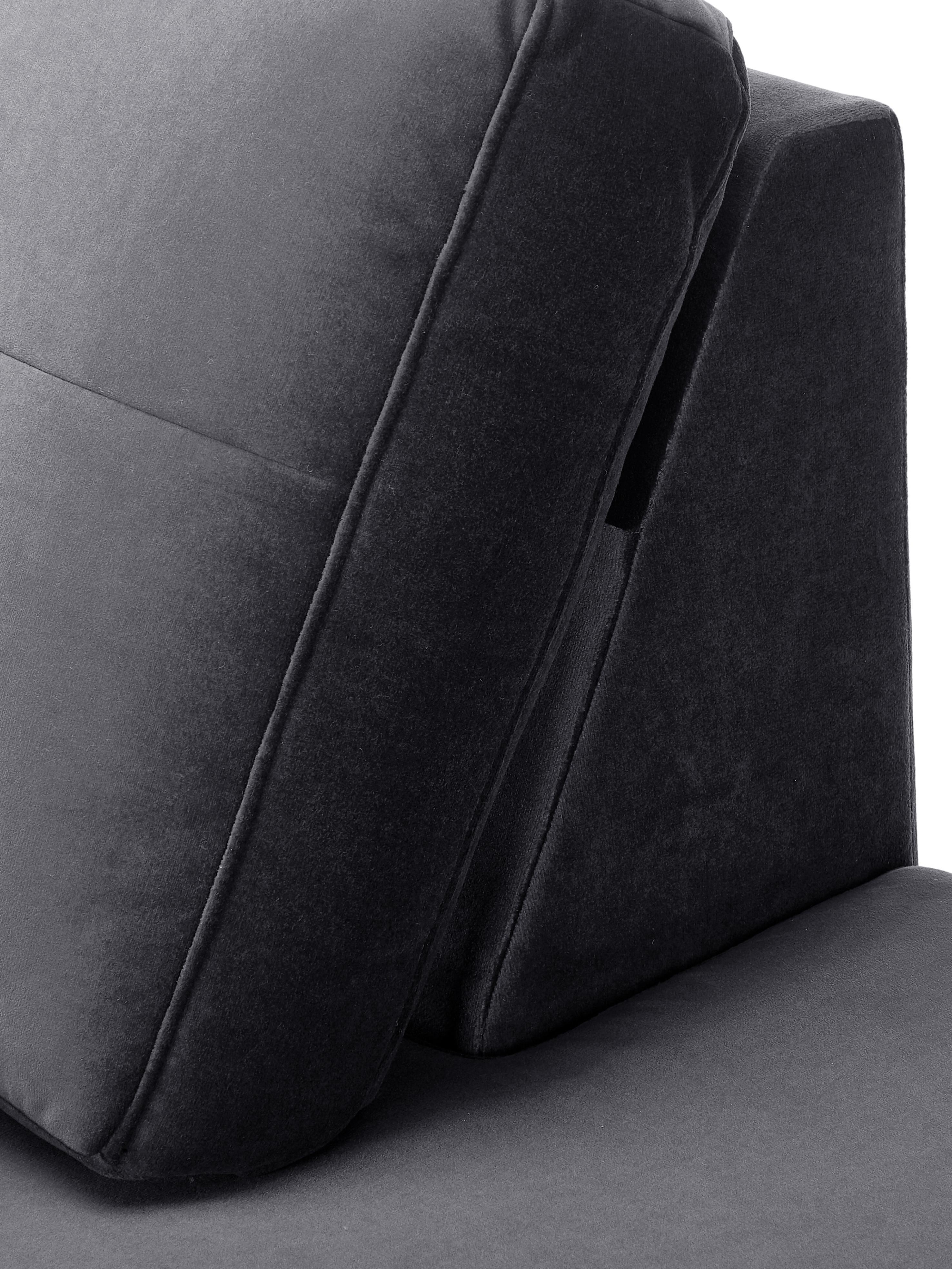 Samt-Ottomane Alva, Bezug: Samt (Hochwertiger Polyes, Gestell: Massives Kiefernholz, Füße: Massives Buchenholz, gebe, Samt Dunkelgrau, B 193 x T 94 cm