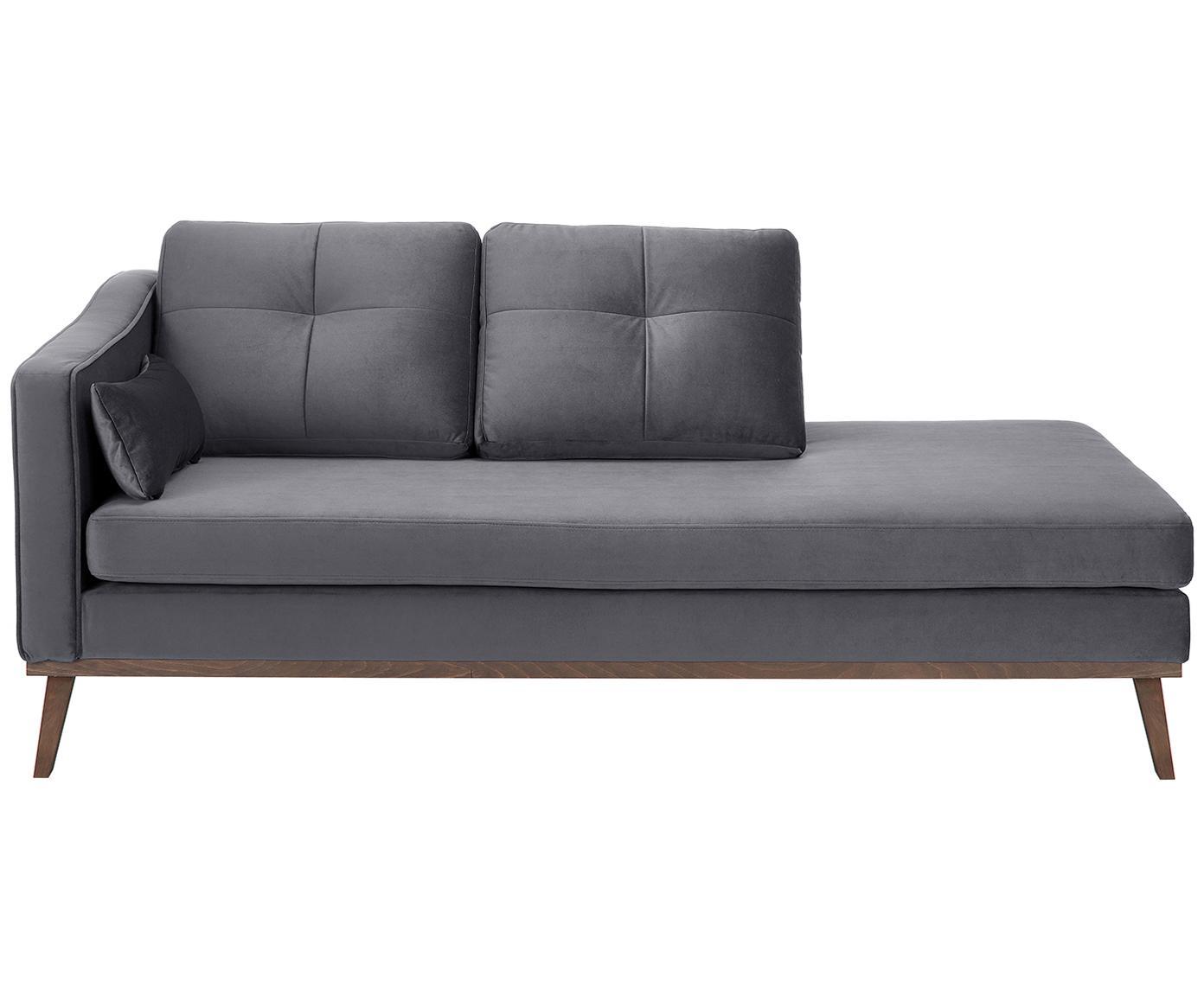 Fluwelen chaise longue Alva, Bekleding: fluweel (hoogwaardig poly, Frame: massief grenenhout, Poten: massief gebeitst beukenho, Donkergrijs, B 193 x D 94 cm