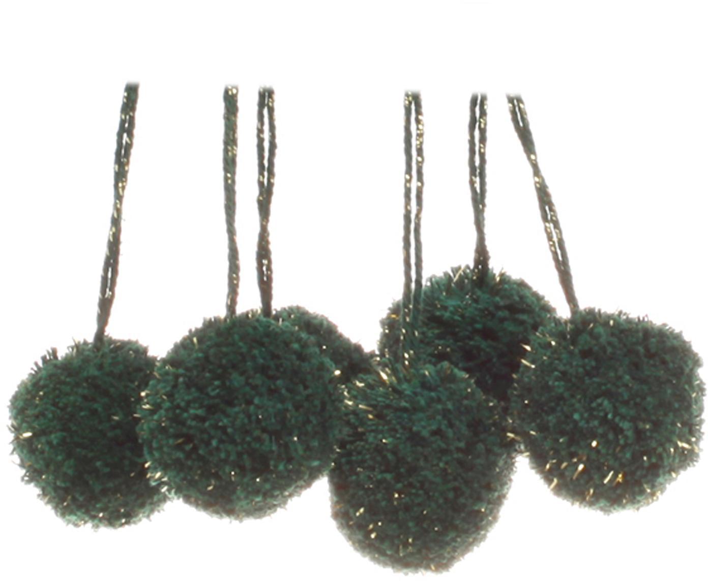Pompons Lurex, 6 Stück, Baumwolle mit Lurexfaden, Petrol, Goldfarben, Ø 4 x H 13 cm