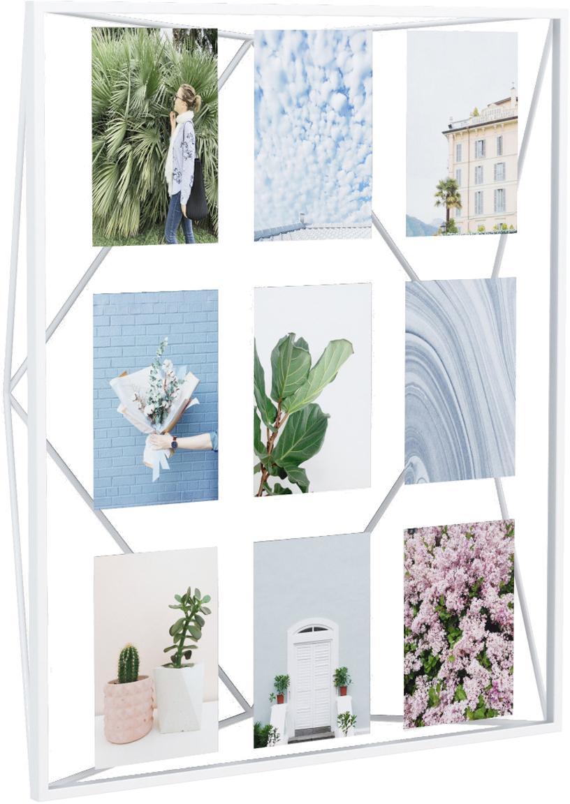 Portafoto multiplo in metallo Prisma, Metallo rivestito, Bianco, 10 x 15 cm