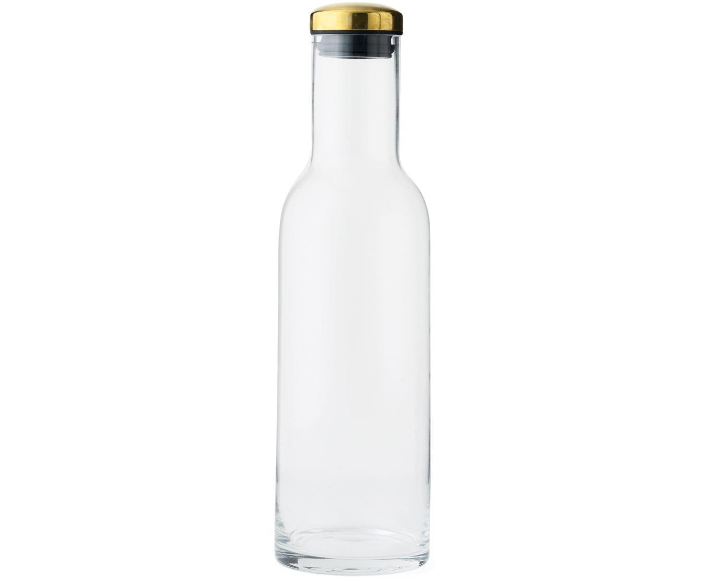 Bottiglia in vetro con coperchio dorato Deluxe, Coperchio: metallo ottonato, Trasparente, Ø 8 x Alt. 29 cm