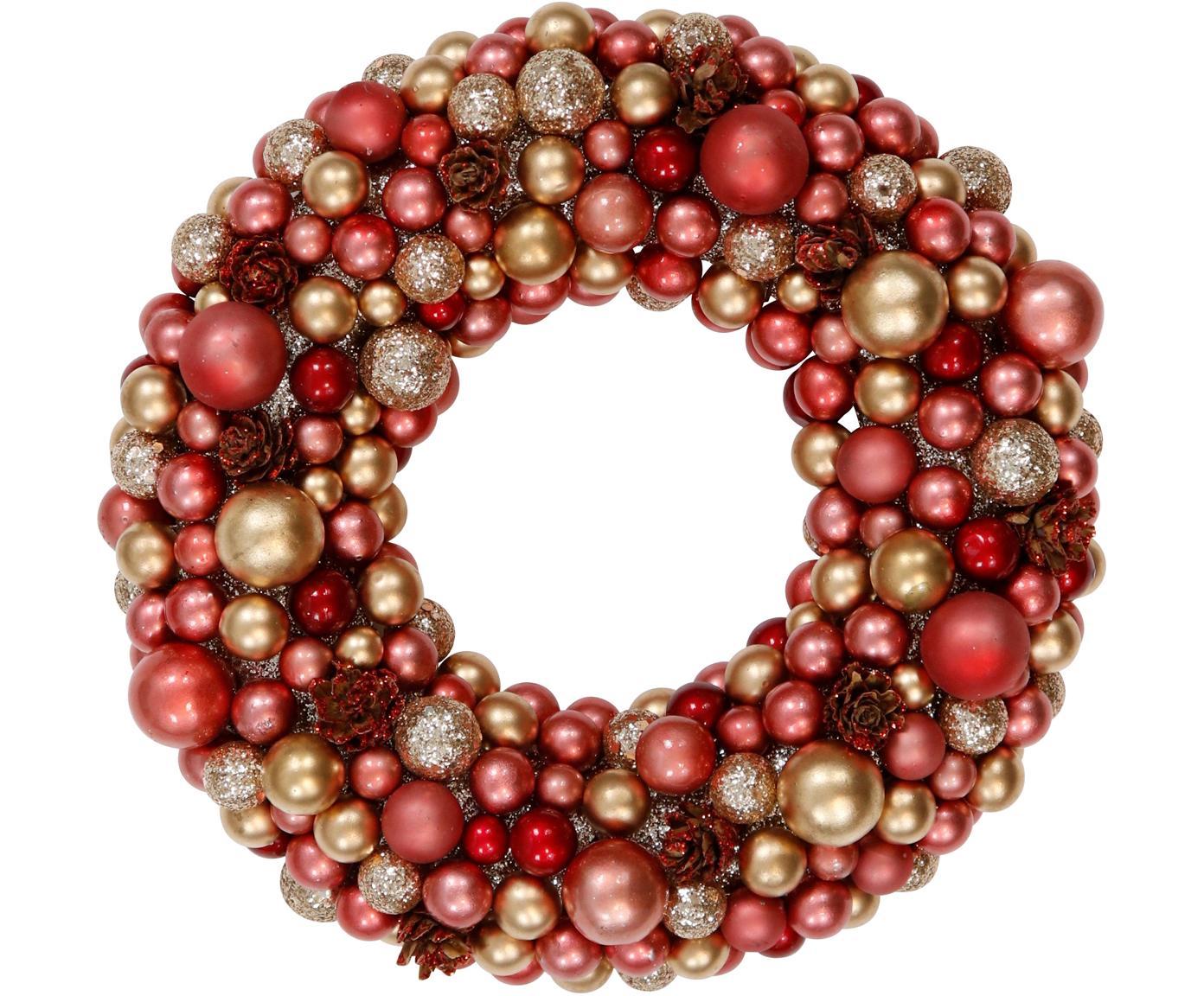 Wieniec dekoracyjny Festivity, Tworzywo sztuczne, polistyren, Czerwony, odcienie złotego, Ø 25 x W 6 cm