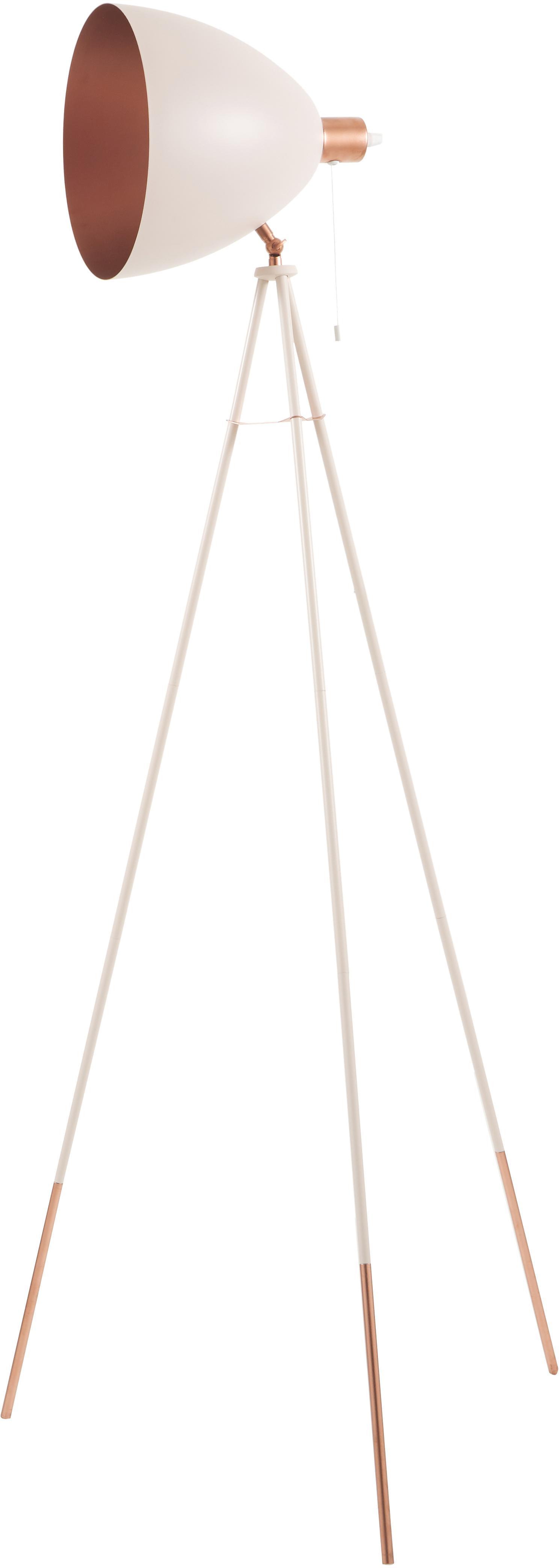 Driepoot leeslamp Chester met koperen decoratie, Lampenkap: gelakt staal, Lampvoet: gelakt staal, Roze, Ø 60 x H 135 cm