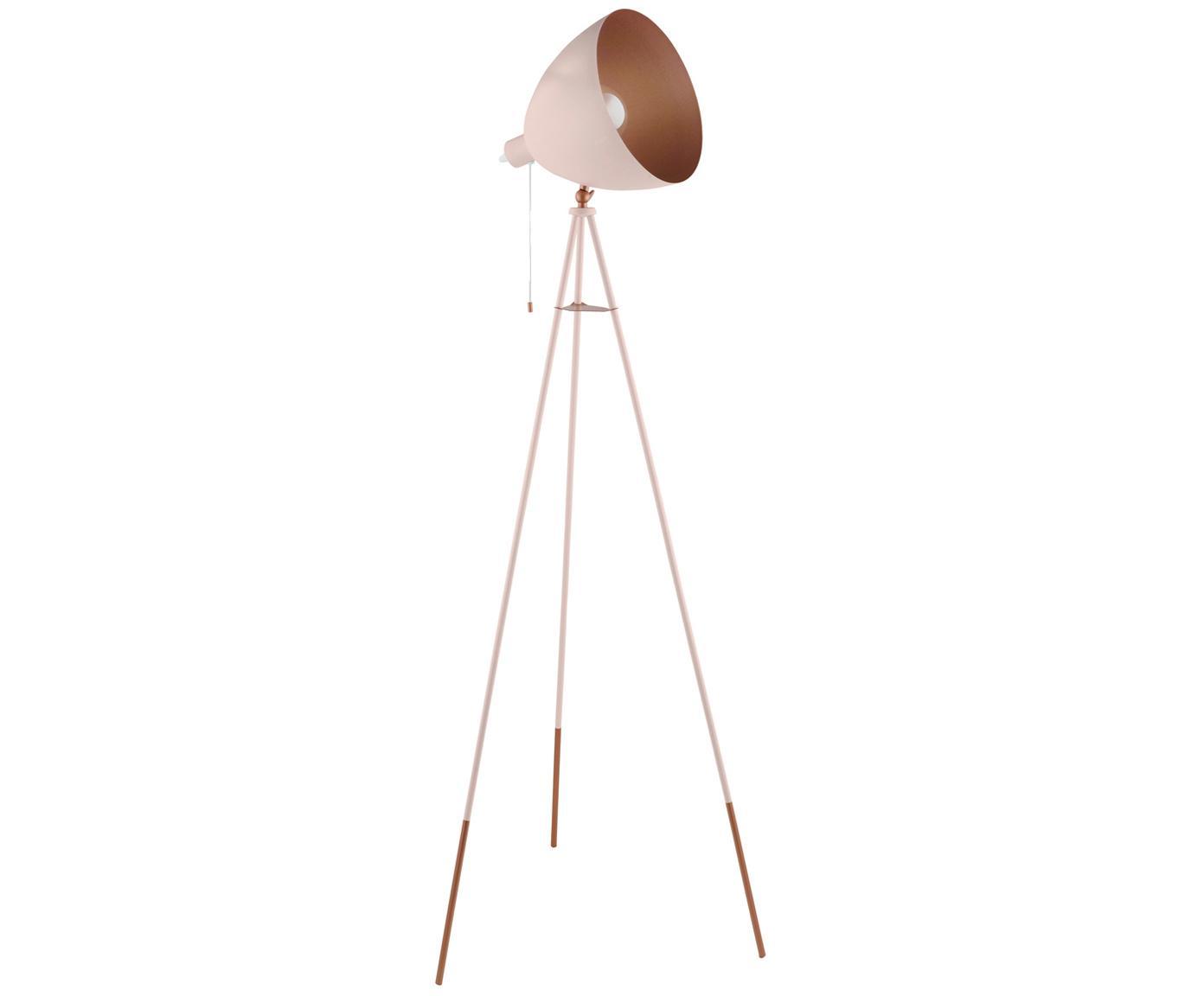 Lámpara de pie Chester, estilo industrial, Cable: plástico, Rosa, Ø 60 x Al 135 cm