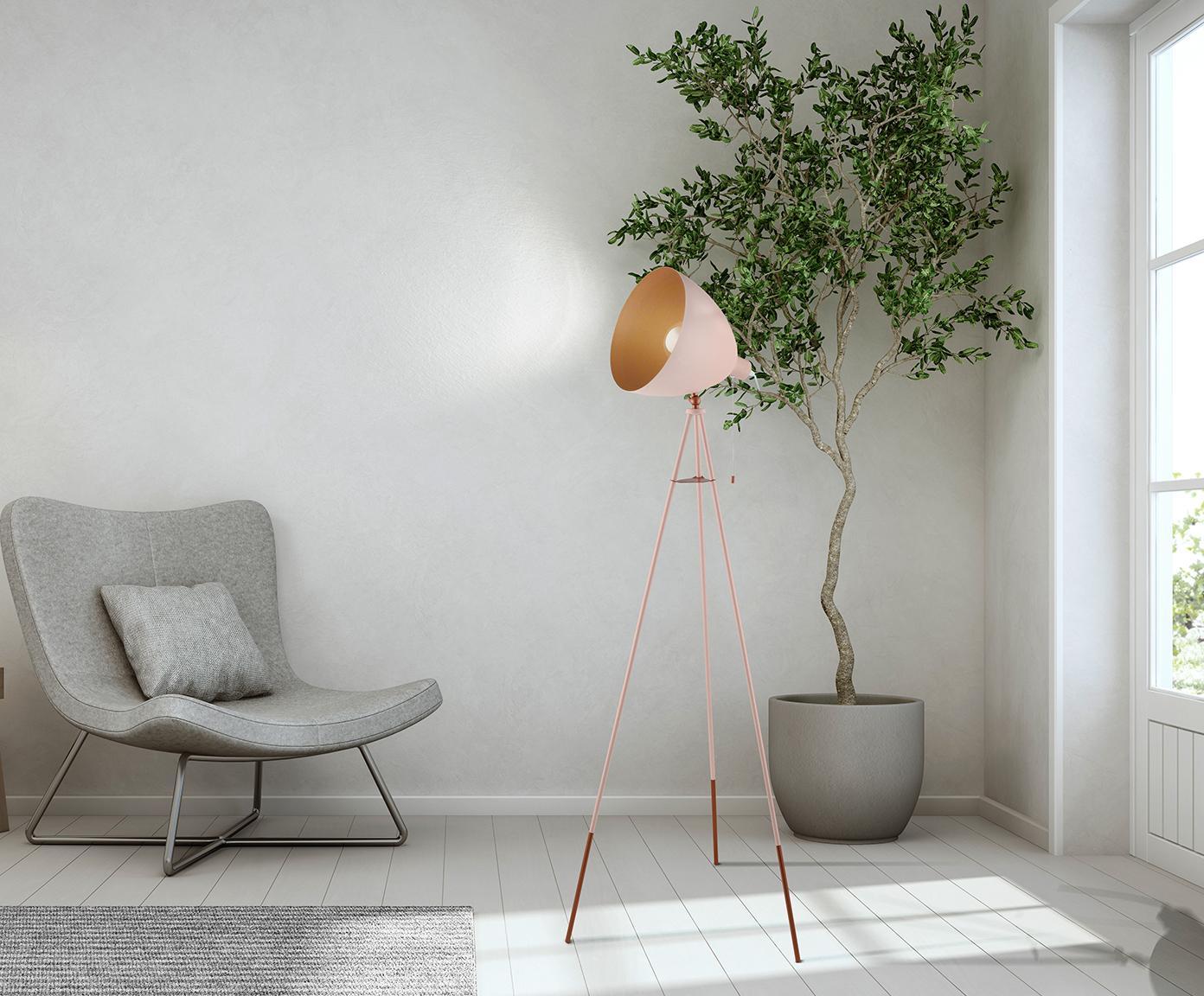 Lampa podłogowa  industrial Chester, Blady różowy, Ø 60 x W 135 cm