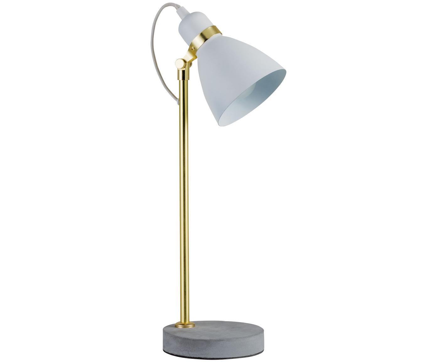 Weiße Schreibtischlampe Orm mit Betonfuß, Lampenschirm: Metall, beschichtet, Lampenfuß: Beton, Weiß, Messingfarben, Grau, Ø 15 x H 50 cm