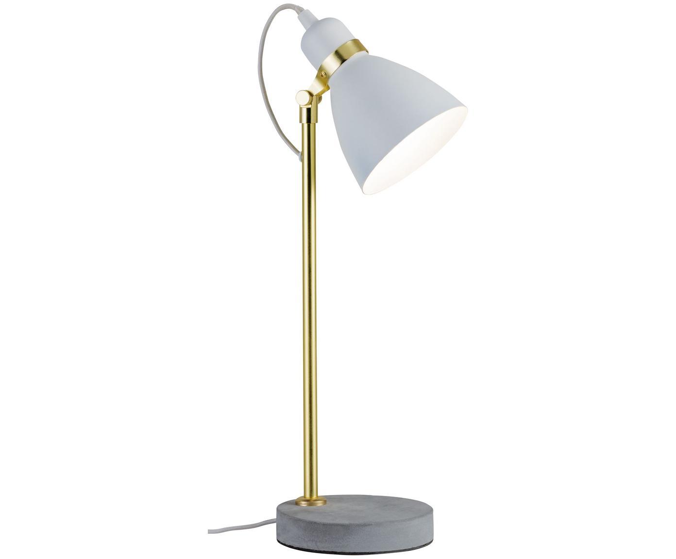 Retro tafellamp Orm, Lampvoet: beton, Wit, messingkleurig, grijs, Ø 15 x H 50 cm