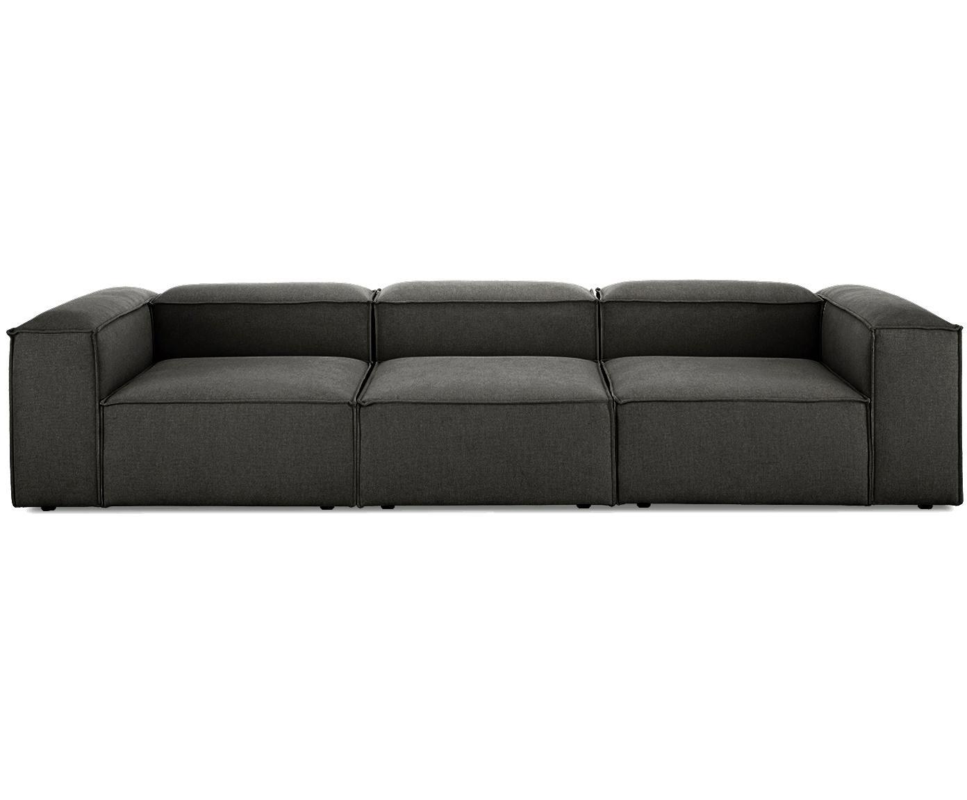 Sofa modułowa Lennon (4-osobowa), Tapicerka: poliester 35 000 cykli w , Stelaż: lite drewno sosnowe, skle, Nogi: tworzywo sztuczne, Antracytowy, S 326 x G 119 cm