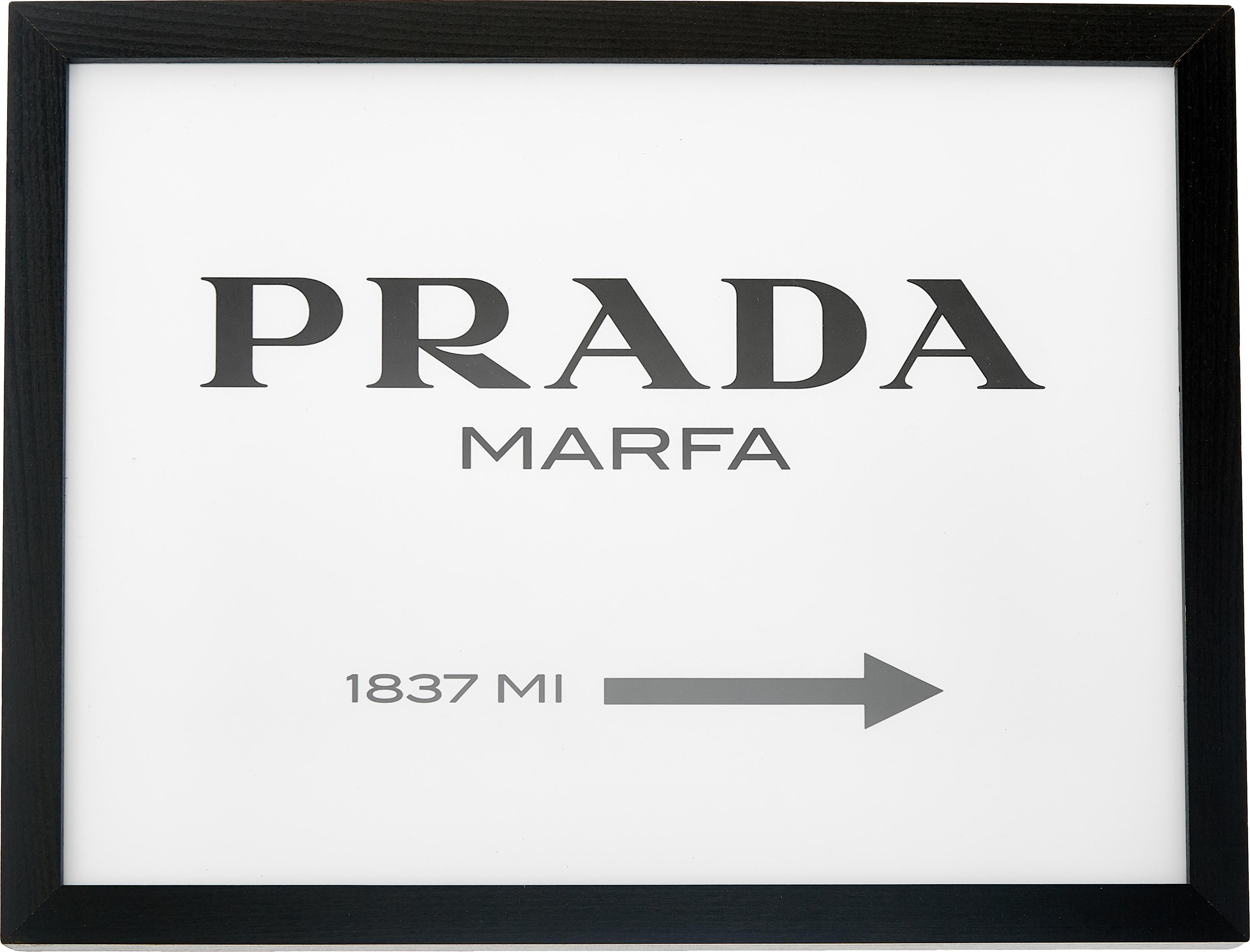Oprawiony druk cyfrowy Prada Marfa, Czarny, biały, S 43 x W 33 cm