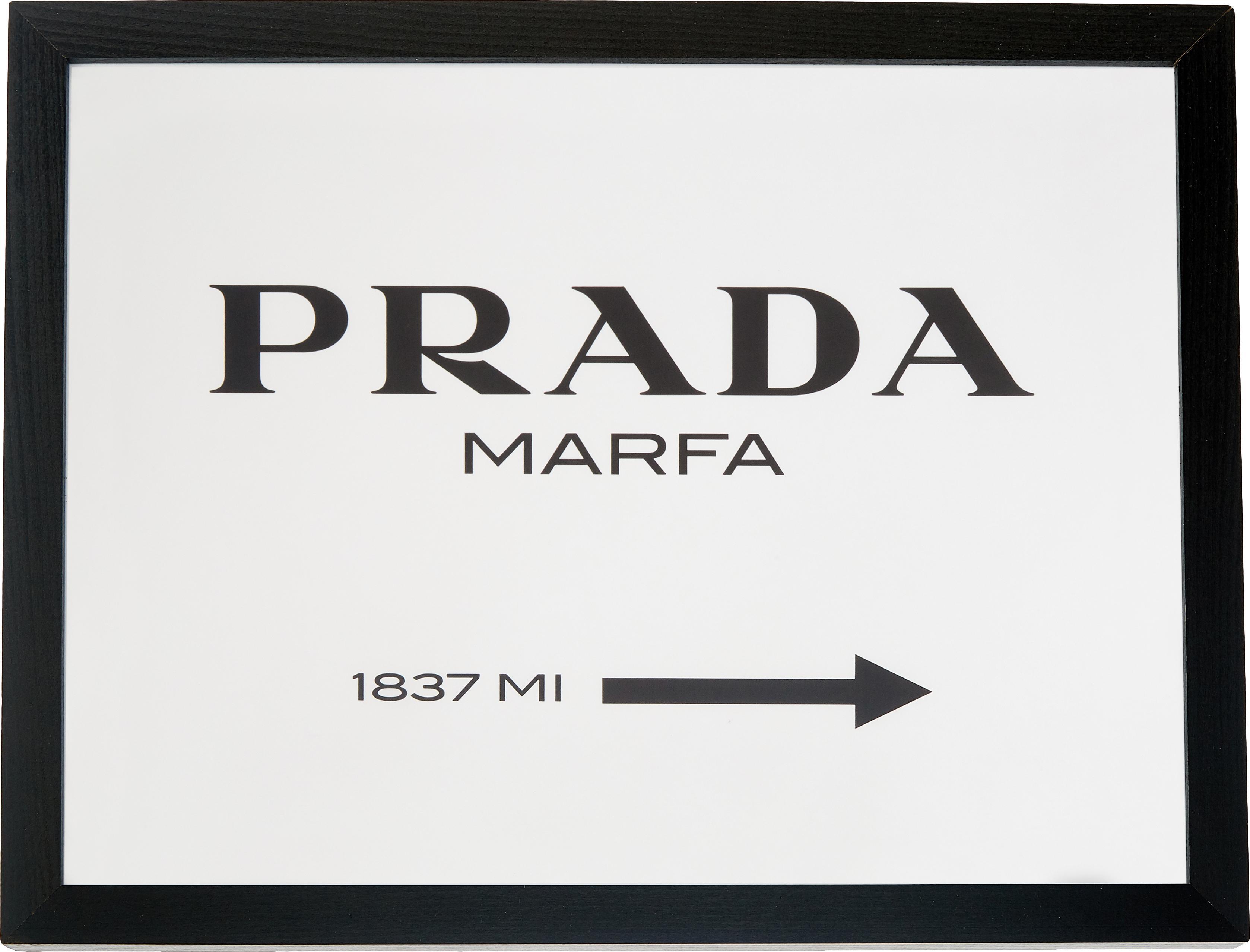 Ingelijste digitale print Prada Marfa, Afbeelding: digitale print op papier,, Lijst: gelakt hout, Zwart, wit, 43 x 33 cm