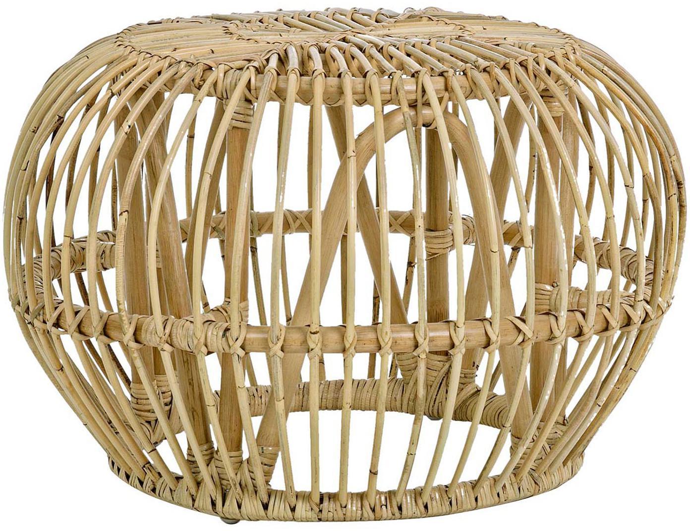 Mesa de centro de ratán Dorodal, Ratán con cabado natural Nitrocelulosa, Marrón, Ø 65 x Al 44 cm