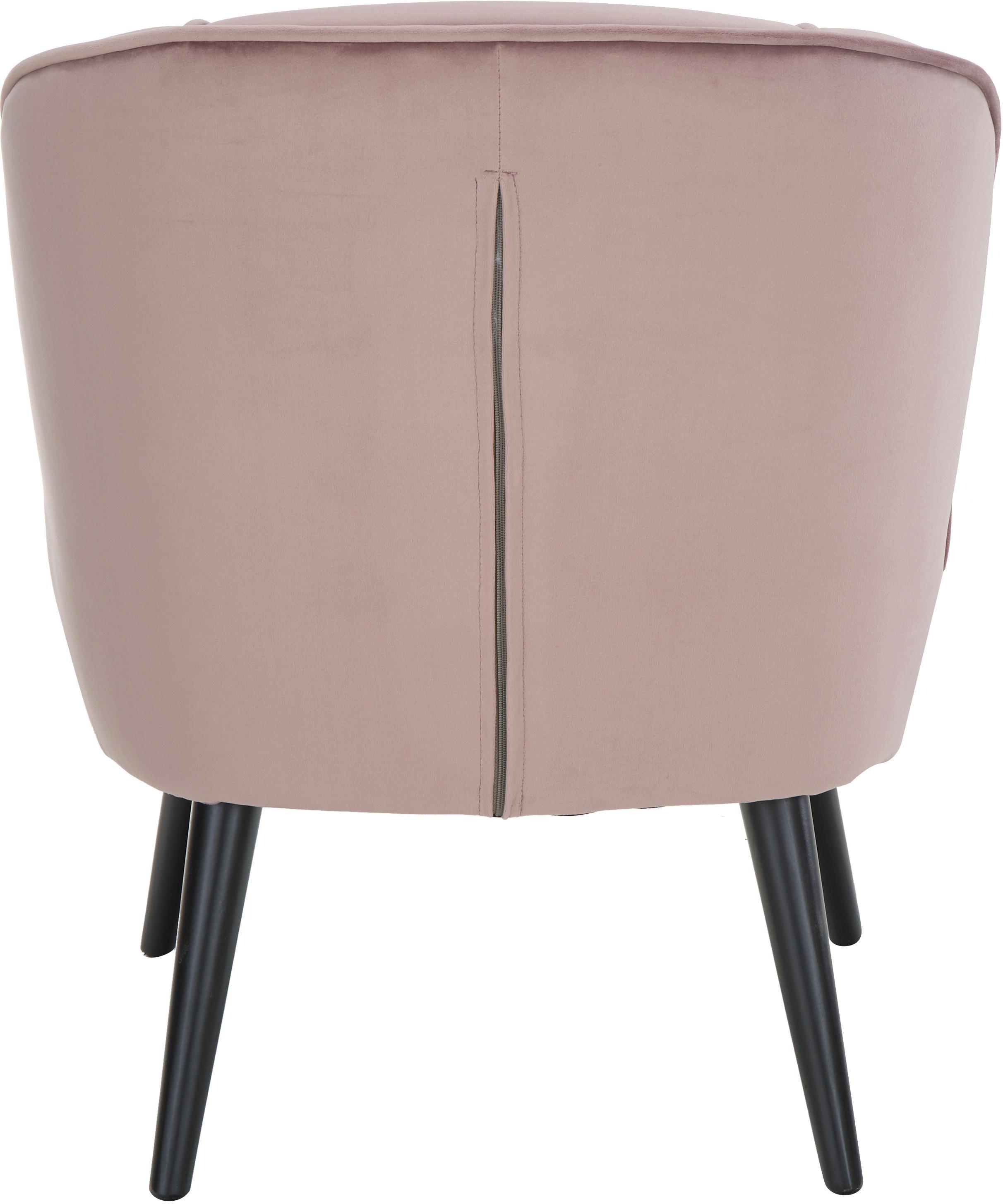 Samt-Cocktailsessel Lucky in Altrosa, Bezug: Samt (Polyester) 30.000 S, Füße: Kautschukholz, lackiert, Samt Altrosa, B 59 x T 68 cm