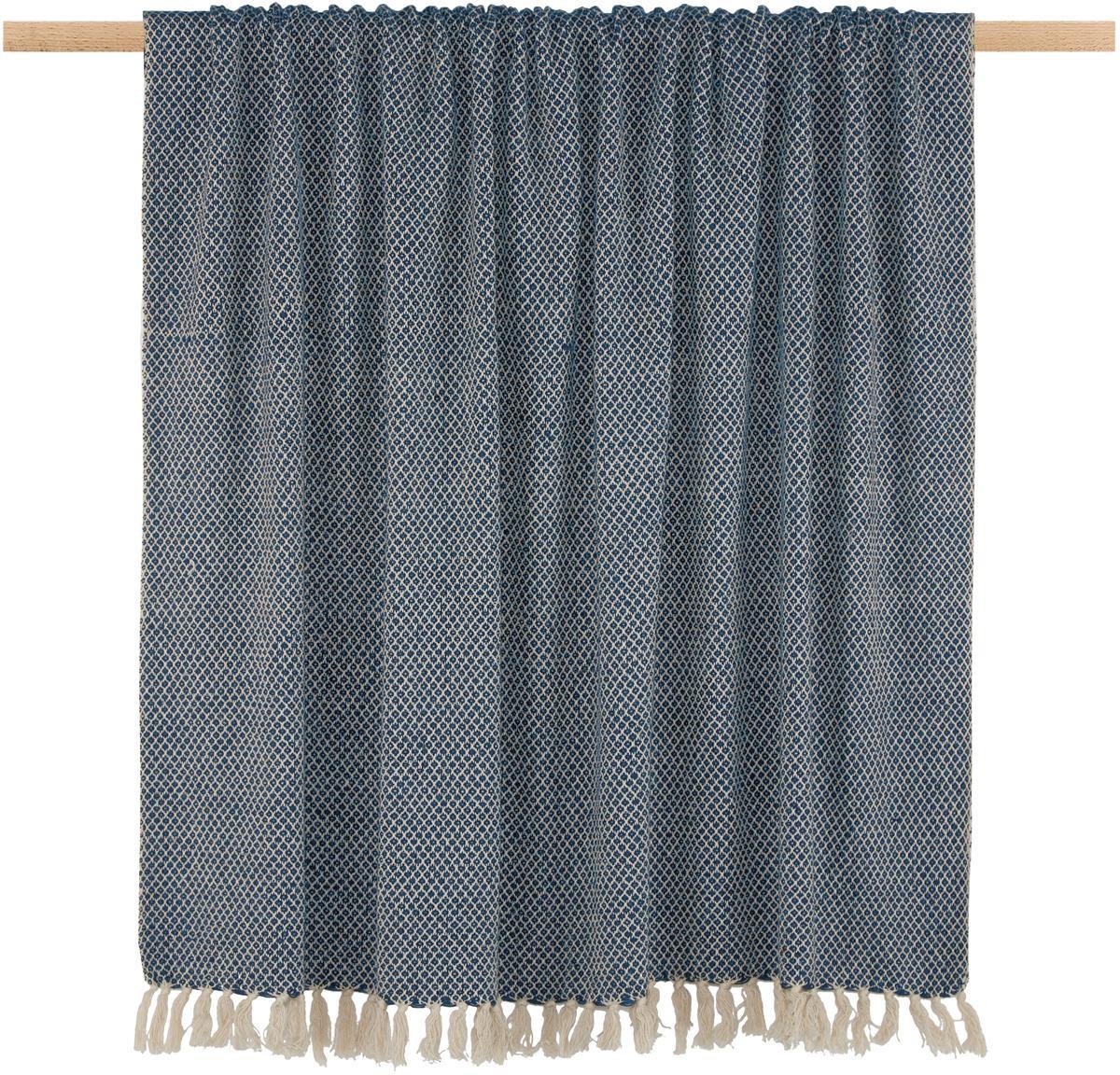 Manta Thea, 58%algodón,22%poliéster, 12%acrílico,4%Rayon,4%nylon, Azul marino, beige claro, An 130 x L 160 cm