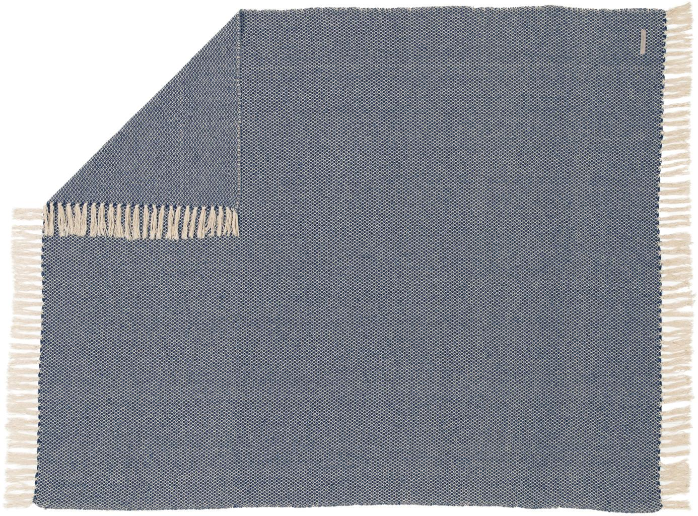 Fein gemustertes Plaid Thea, 58%Baumwolle,22%Polyester, 12%Acryl,4%Rayon,4%Nylon, Dunkles Marineblau, Hellbeige, 130 x 160 cm