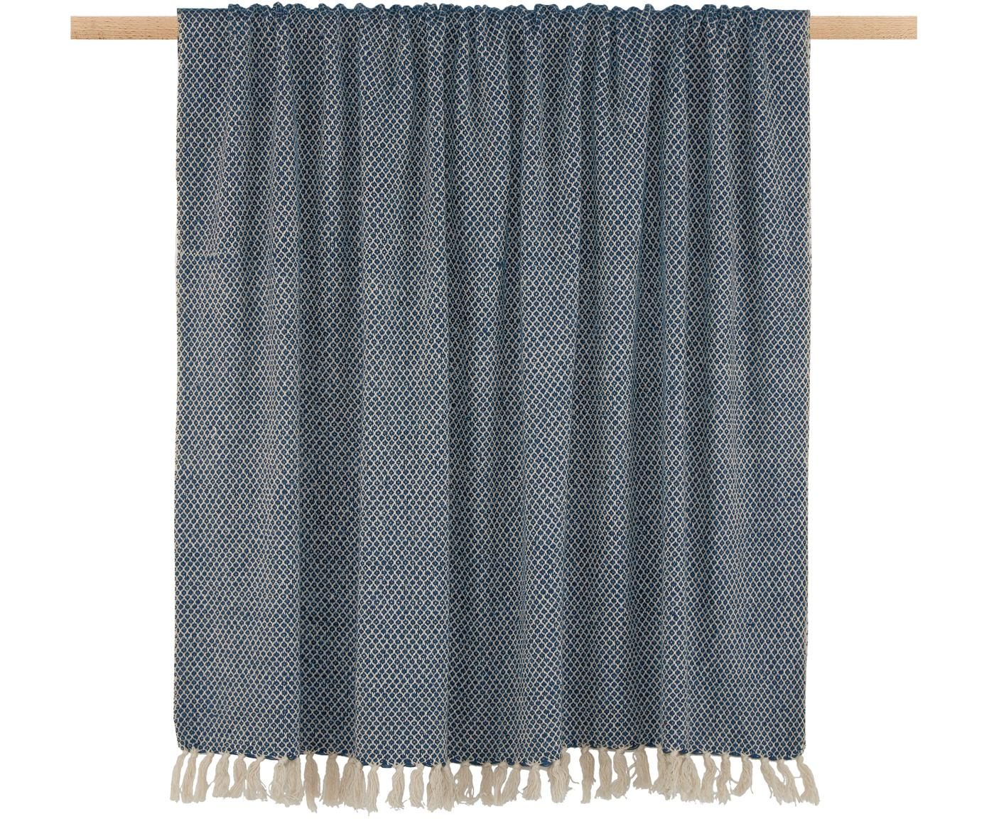 Plaid Thea, Blu marino scuro, beige chiaro, Larg. 130 x Lung. 160 cm