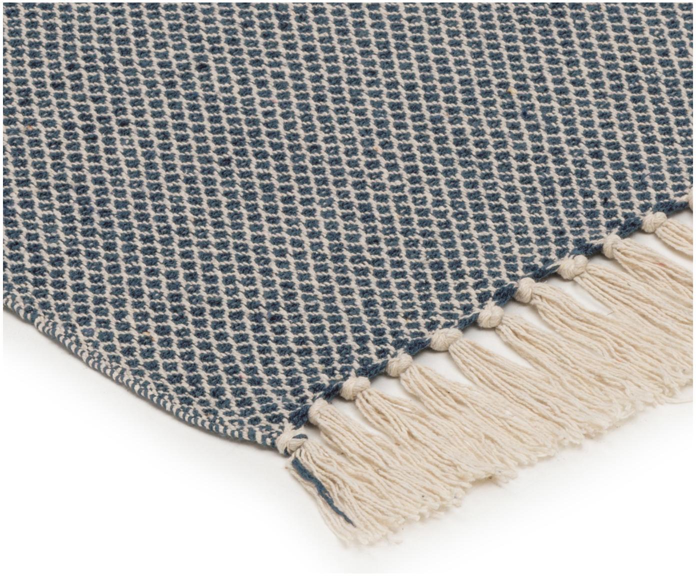 Plaid Thea, 58%katoen,22%polyester, 12%acryl,4%rayon,4%nylon, Donker marineblauw, lichtbeige, 130 x 160 cm