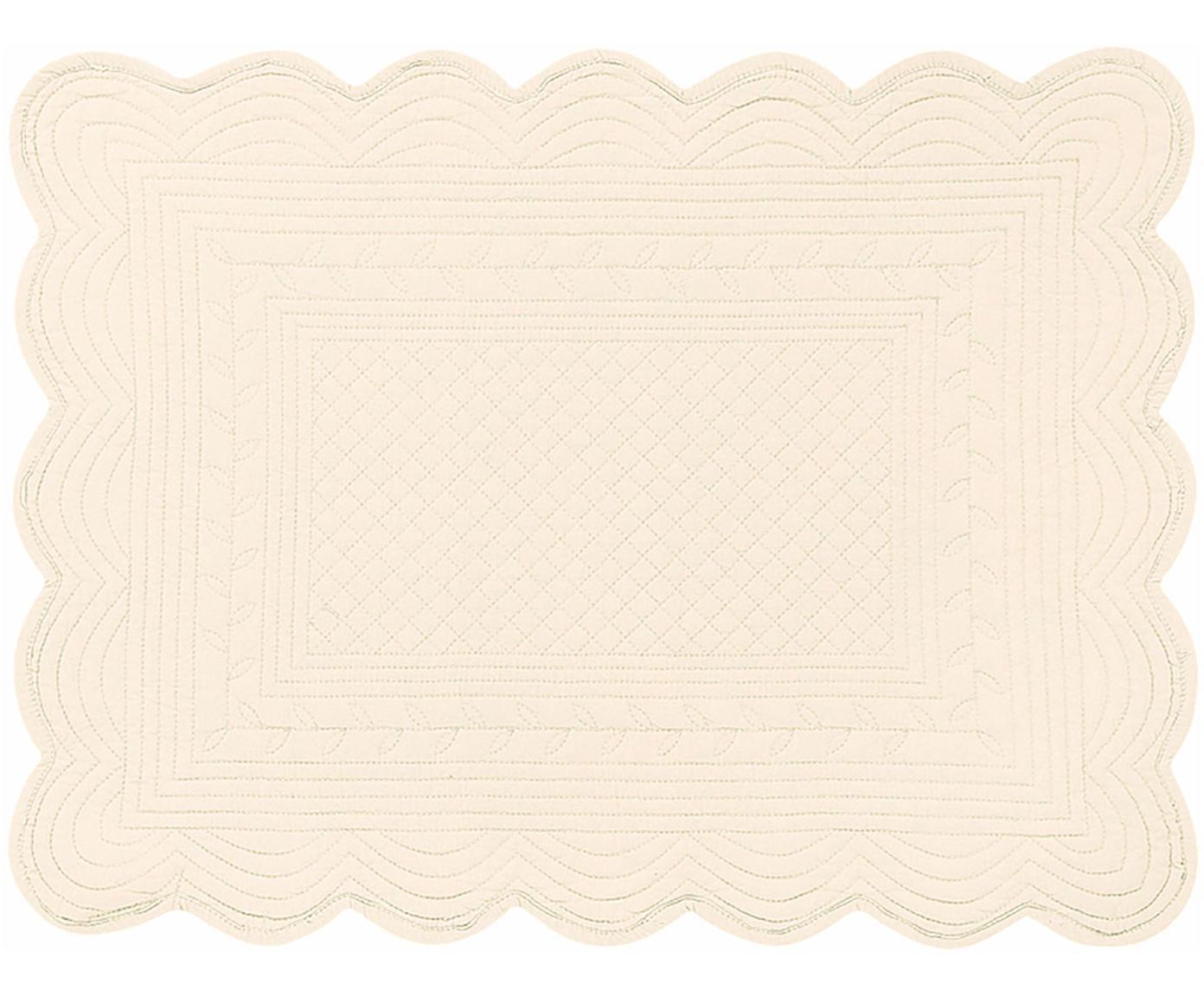 Placemats Boutis, 6 stuks, Katoen, Ivoorkleurig, 34 x 48 cm