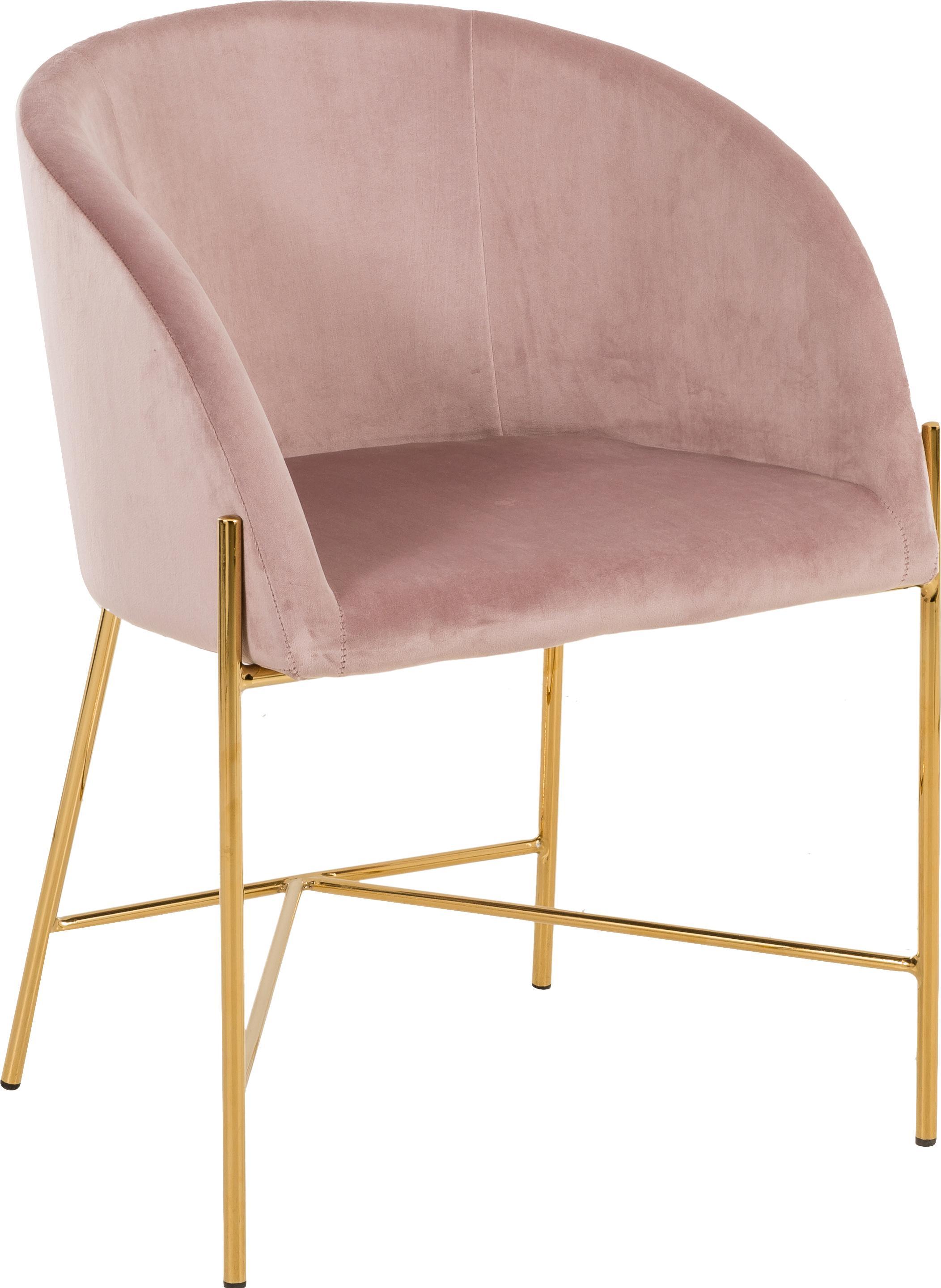 Sedia con braccioli in velluto Nelson, Rivestimento: velluto di poliestere 25., Gambe: metallo ottonato, Rosa cipria, Larg. 56 x Prof. 55 cm