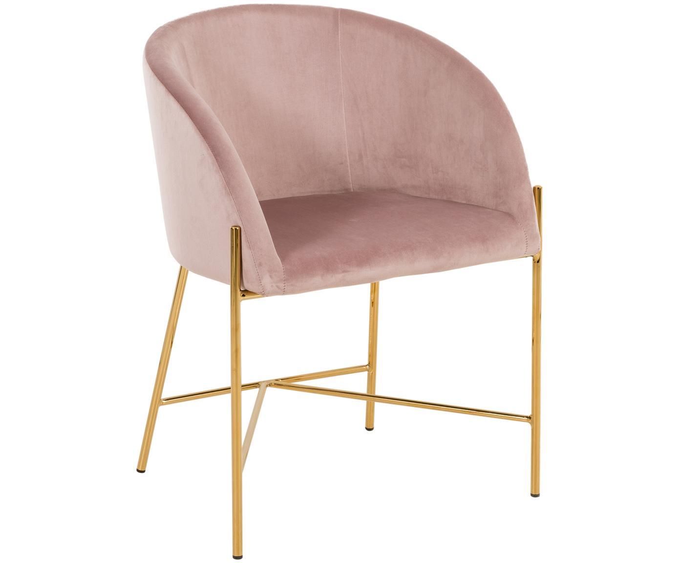 Krzesło z podłokietnikami z aksamitu Nelson, Tapicerka: aksamit poliestrowy 2500, Nogi: metal mosiądzowany, Brudny różowy, S 56 x G 55 cm