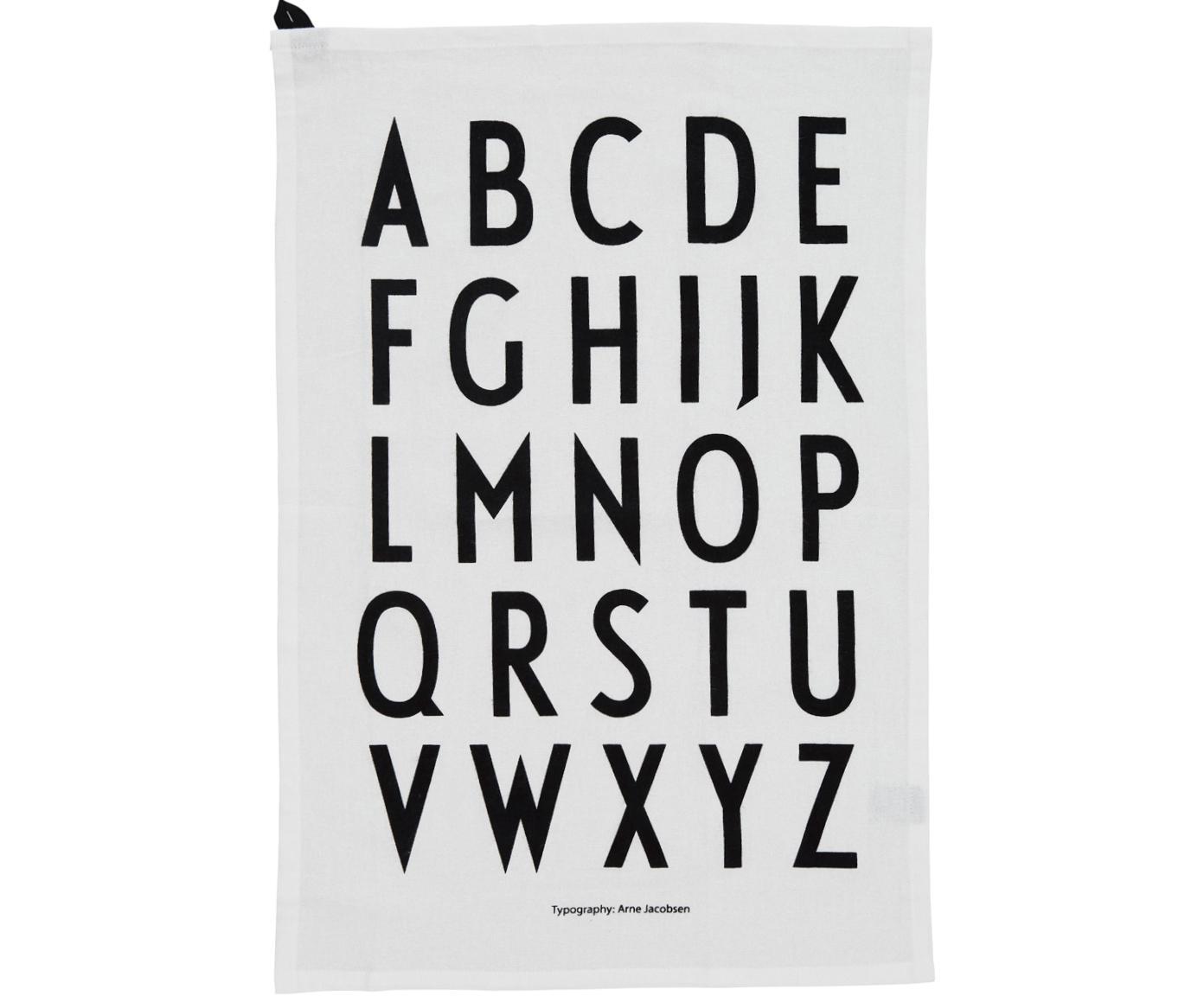 Theedoeken Classic in wit met designletters, 2 stuks, Katoen, Wit, zwart, 40 x 60 cm