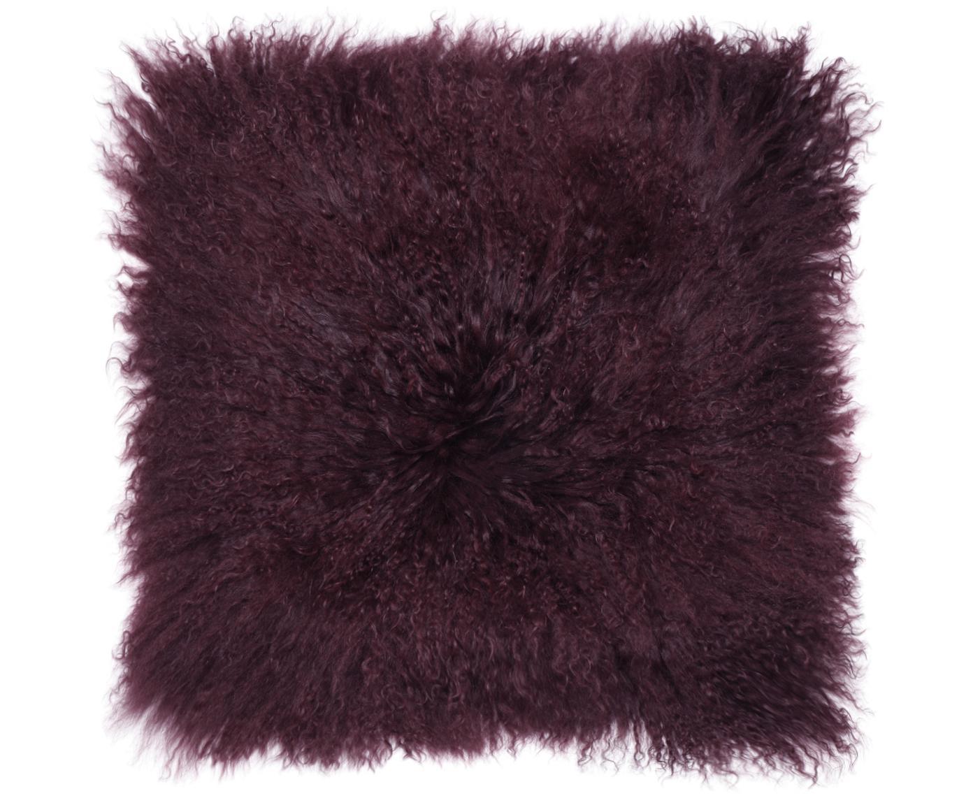 Zitkussen van langharige schapenvacht Ella, Bovenzijde: 100% Mongoolse schapenvac, Onderzijde: 100% polyester, Donkerrood, 40 x 40 cm