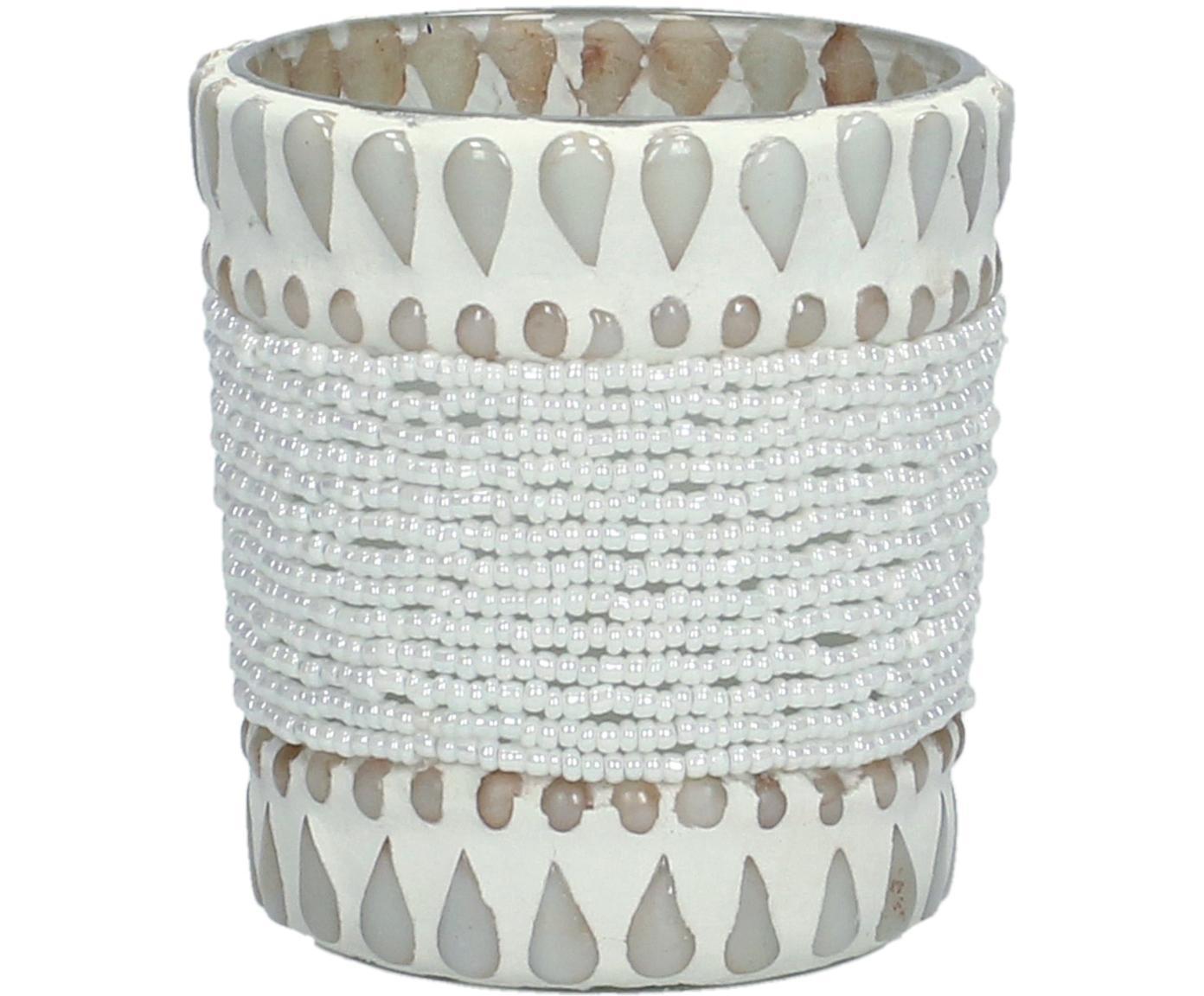 Waxinelichthouder Ive, Glas, bedekt met kralen en stenen, Beige, Ø 7 x H 8 cm
