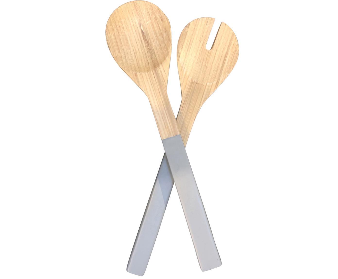 Posate da insalata in bambù Tina, set di 2, Bambù, Grigio, Lung. 30 cm