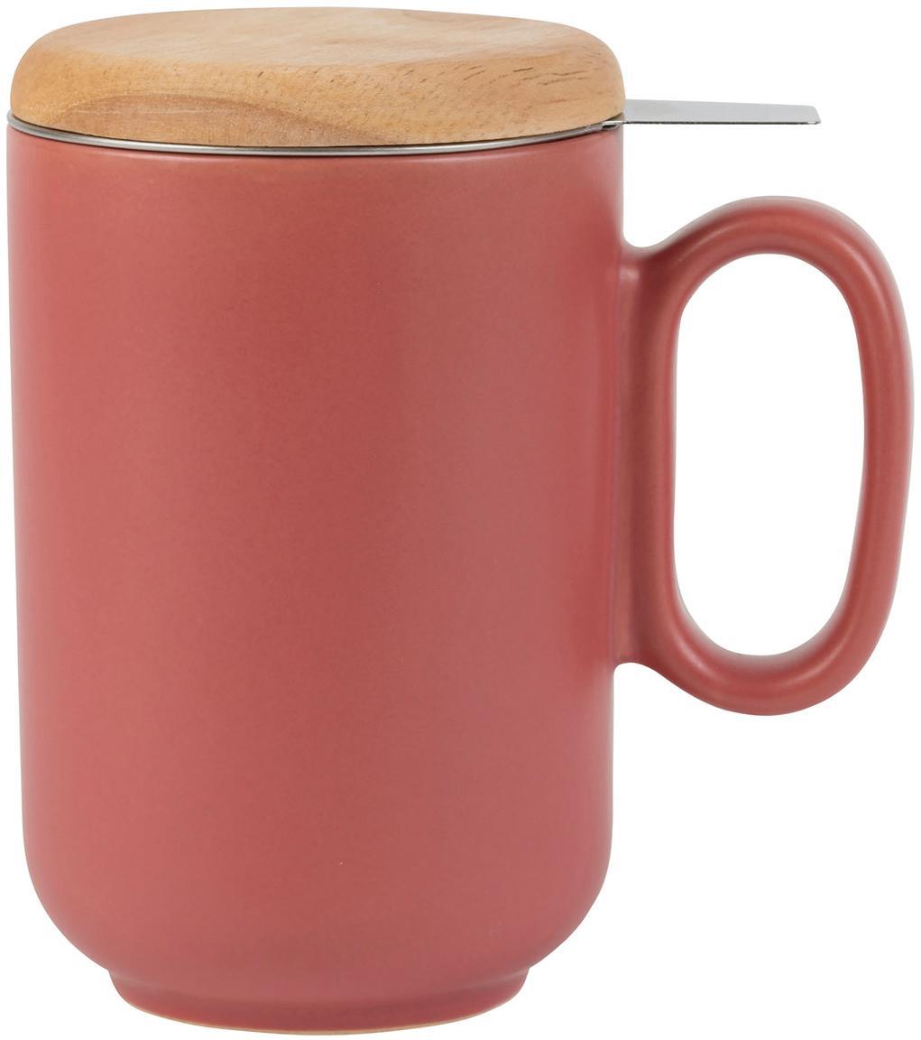 Kubek z sitkiem do herbaty i pokrywką Baltika, Kamionka, drewno bambusowe, stal nierdzewna, Koralowy, Ø 9 x W 14 cm