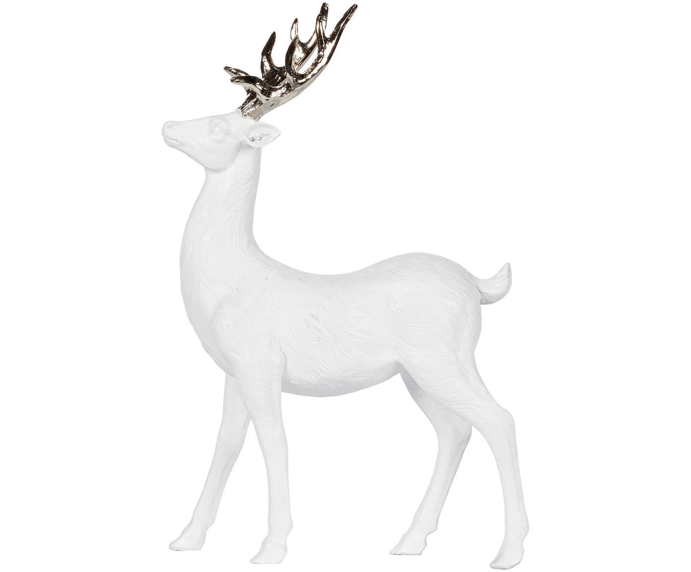 Deko-Objekt Serafina Deer, Polyresin, Weiß, Goldfarben, 24 x 36 cm