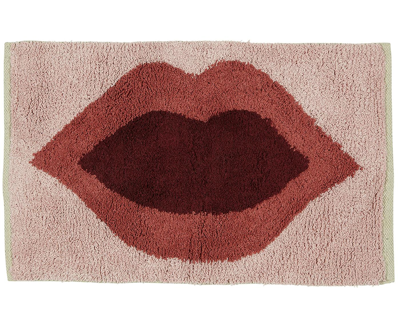 Tappeto bagno con motivo Kiss, Cotone Non antiscivolo, Rosa, rosso, rosso scuro, Larg. 60 x Lung. 90 cm