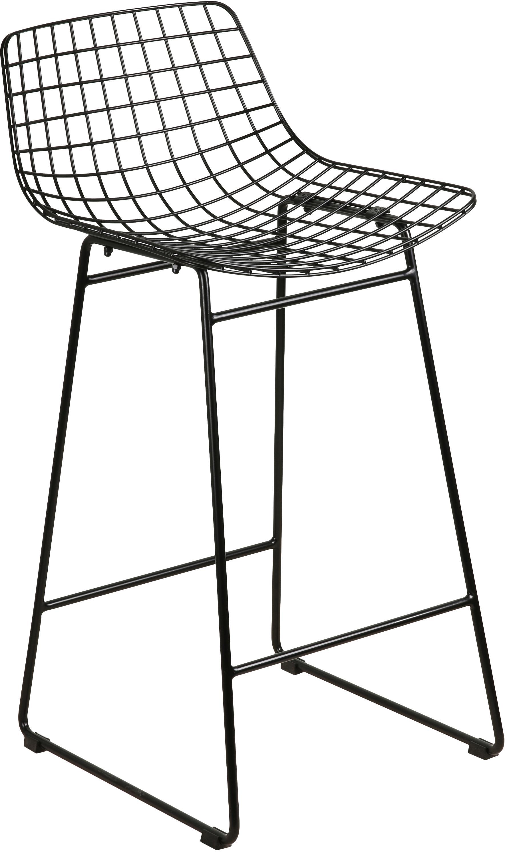 Barkruk Wire, Gepoedercoat metaal, Zwart, 47 x 89 cm