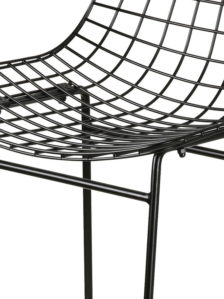 Metall-Thekenstuhl Wire in Schwarz, Metall, pulverbeschichtet, Schwarz, 47 x 89 cm