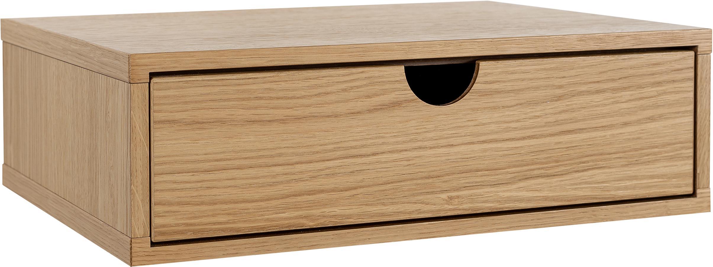 Mesilla de noche de pared Farsta, Tablero de fibras de densidad media (MDF) chapado en madera de roble, Roble, An 40 x Al 15 cm