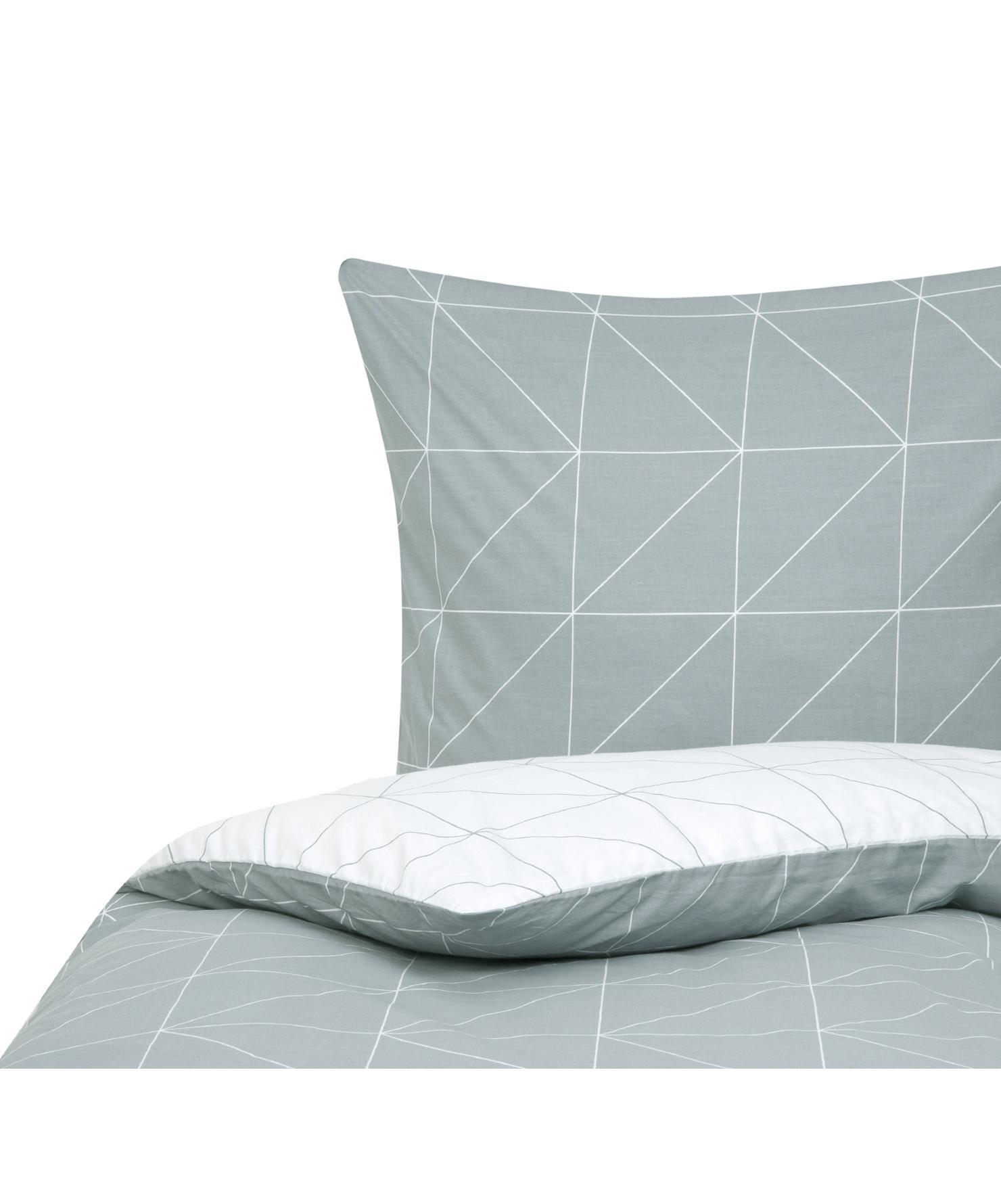 Baumwoll-Wendebettwäsche Marla mit grafischem Muster, Webart: Renforcé Fadendichte 144 , Grau, Weiss, 155 x 220 cm + 1 Kissen 80 x 80 cm