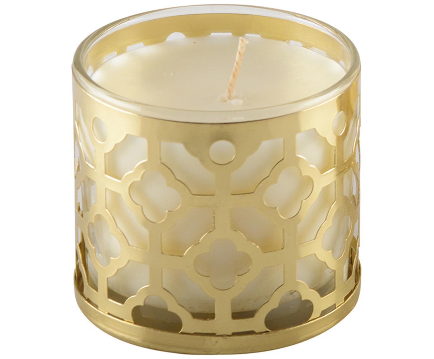 Geurkaars Helion (vanille), Houder: glas, metaal, Goudkleurig, wit, Ø 8 x H 8 cm