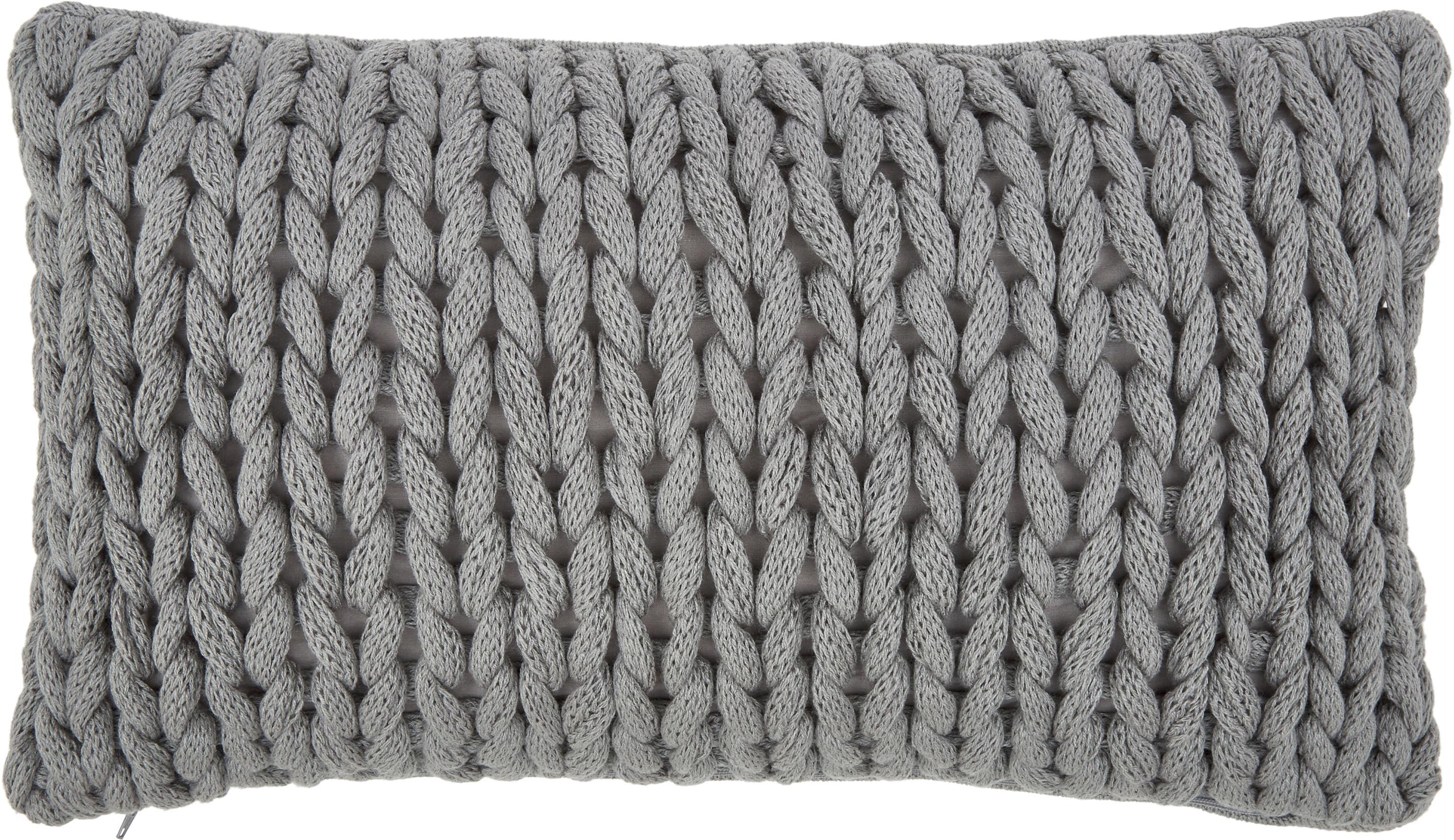 Funda de cojín de punto grueso Josie, 100%poliacrílico, Gris claro, An 30 x L 50 cm