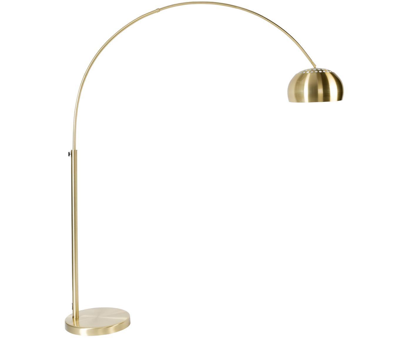Booglamp Metal Bow, in hoogte verstelbaar, Lampvoet: steen met vermessingd met, Messingkleurig, 170 x 205 cm