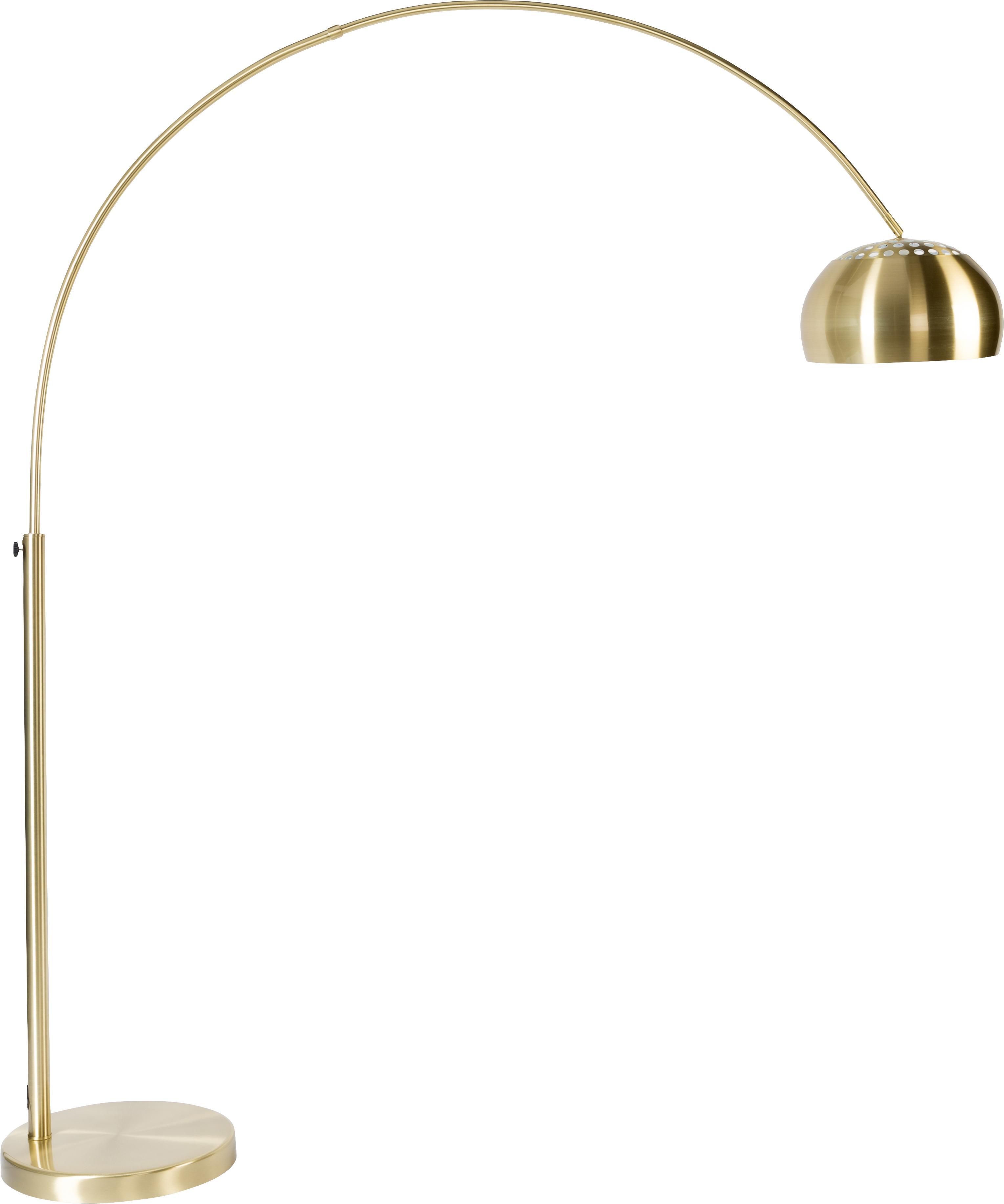 Bogenlampe Metal Bow, höhenverstellbar, Lampenfuß: Stein mit vermessingter M, Messingfarben, 170 x 205 cm