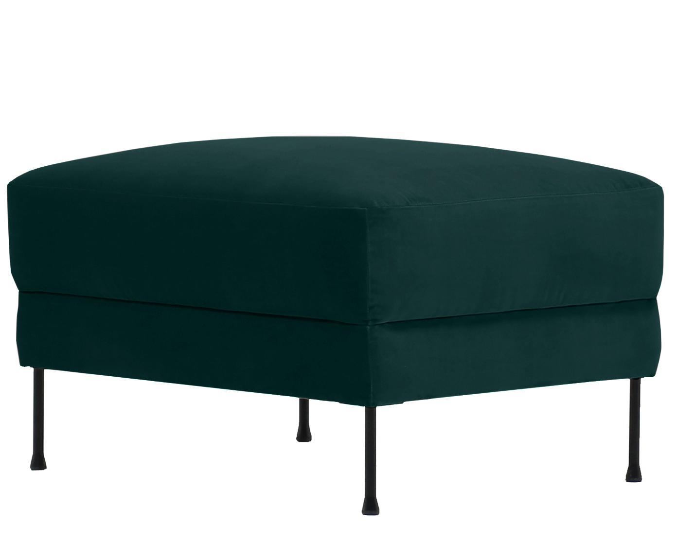 Puf z aksamitu Fluente, Tapicerka: aksamit (wysokiej jakości, Stelaż: lite drewno sosnowe, Nogi: metal lakierowany, Aksamitny ciemny zielony, S 62 x W 46 cm