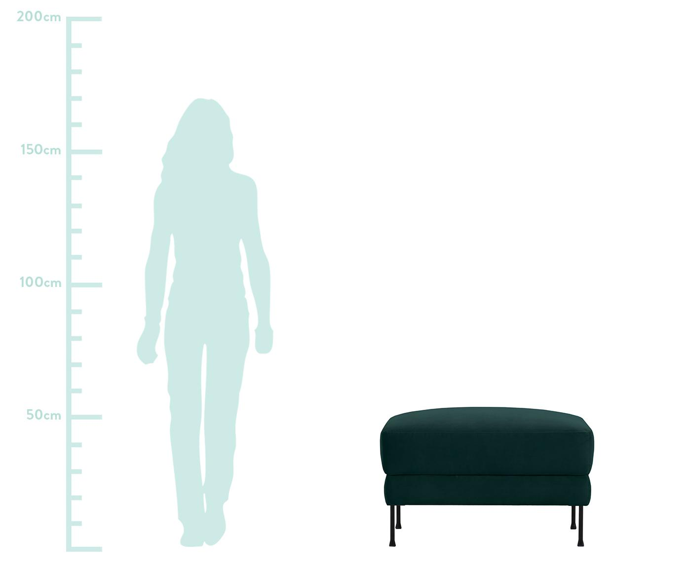 Sofa-Hocker Fluente aus Samt, Bezug: Samt (Hochwertiger Polyes, Gestell: Sperrholz, Spanplatte, Füße: Metall, pulverbeschichtet, Samt Dunkelgrün, 62 x 46 cm