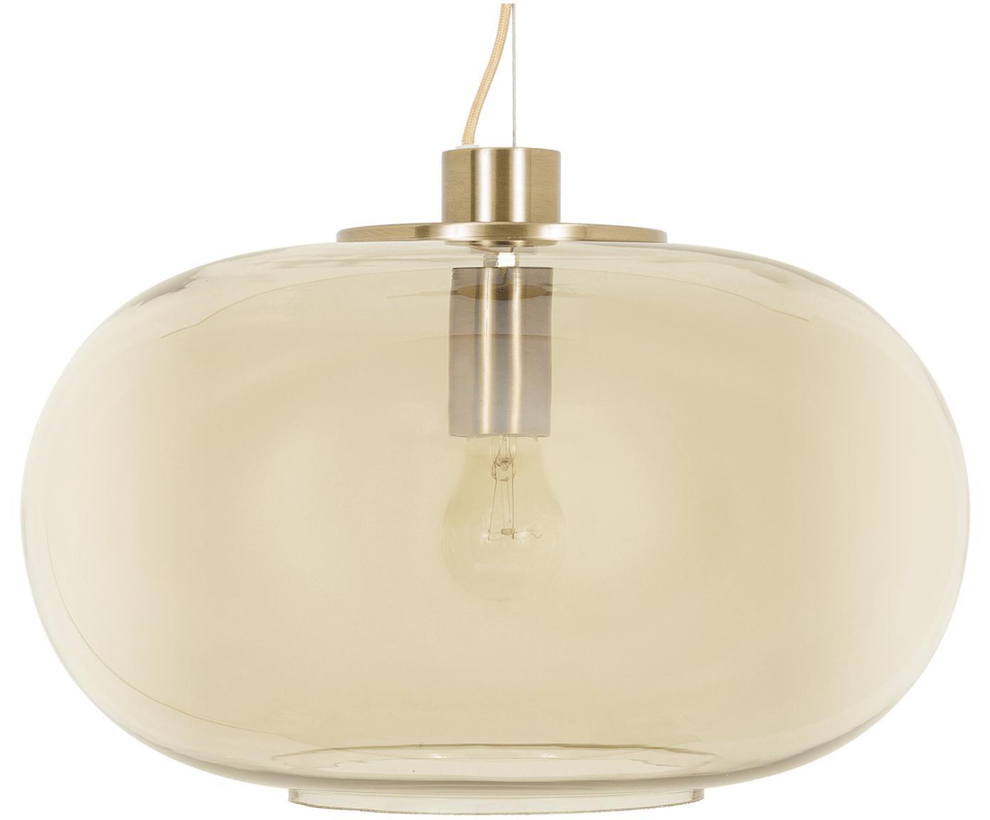 Lámpara de techo Lunar, Anclaje: metal cepillado, Pantalla: vidrio, Cable: cubierto en tela, Anclaje: latón, mate Pantalla: ámbar, transparente, Ø 40 x Al 23 cm