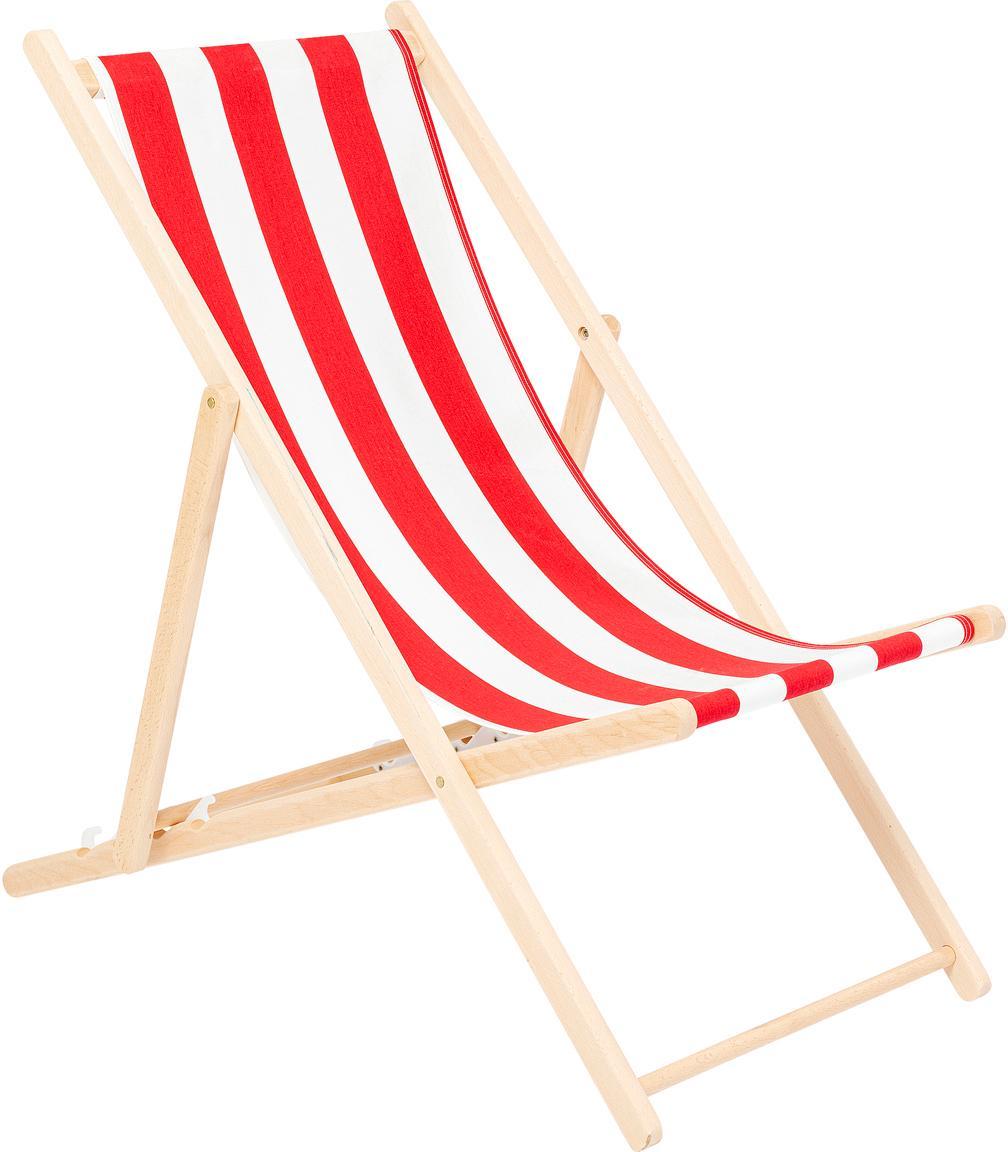Sedia a sdraio pieghevole Hot Summer, Struttura: legno di faggio, Rosso, bianco, legno di faggio, Larg. 96 x Prof. 56 cm