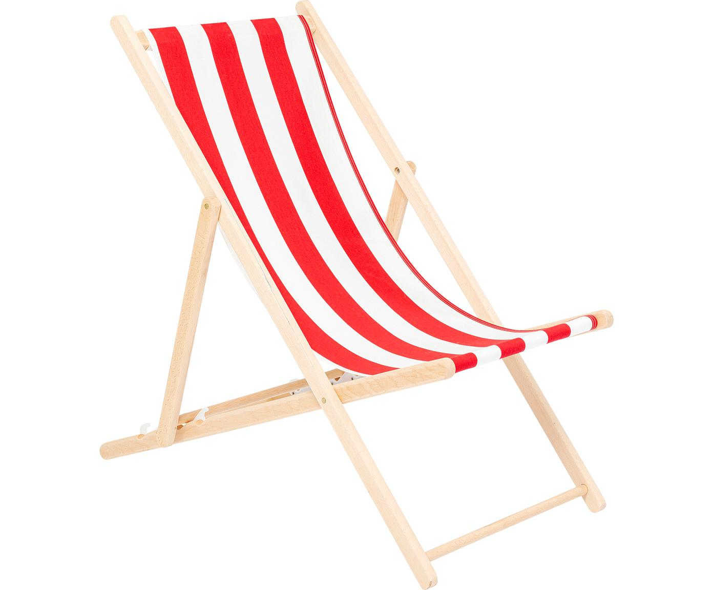 Klapbare ligstoel Hot Summer, Frame: beukenhout, Rood, wit, beukenhoutkleurig, B 96 x D 56 cm